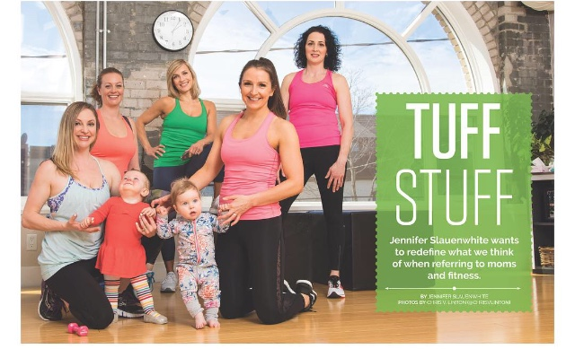 Appearances and Publications - Jen has appeared numerous times on daytime television, and written articles for several fitness publications.- Cityline, interviewed during Mom & Baby class- Cityline with Tracey Moore, demonstrating strength training- Strong. Beautiful. Role Model publication, authored article on Strength and Conditioning- Sweat Equity Magazine, demonstrating strength, core stability and balance exercise- D'Fyne Fitness Magazine, authored article on my One Tough Mother Program
