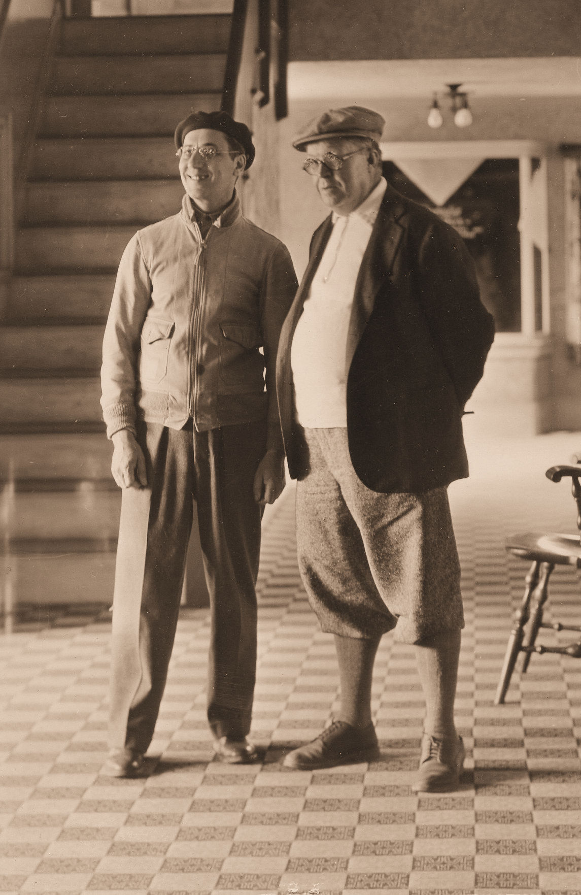 Groucho Marx with Owen Davis inside the Lobby of Lakewood Theater - 1934