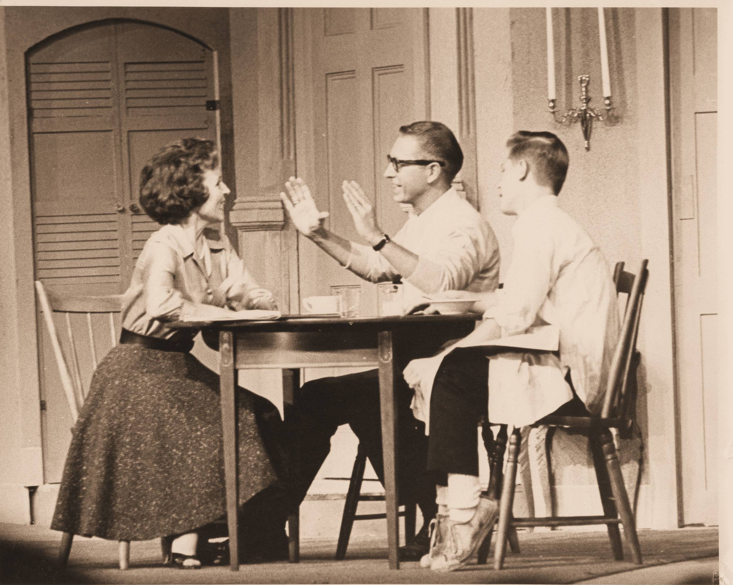 """Left to Right: Betty White, Allen Ludden & David Ludden At Lakewood Theater in """"Critic's Choice"""" 1962"""