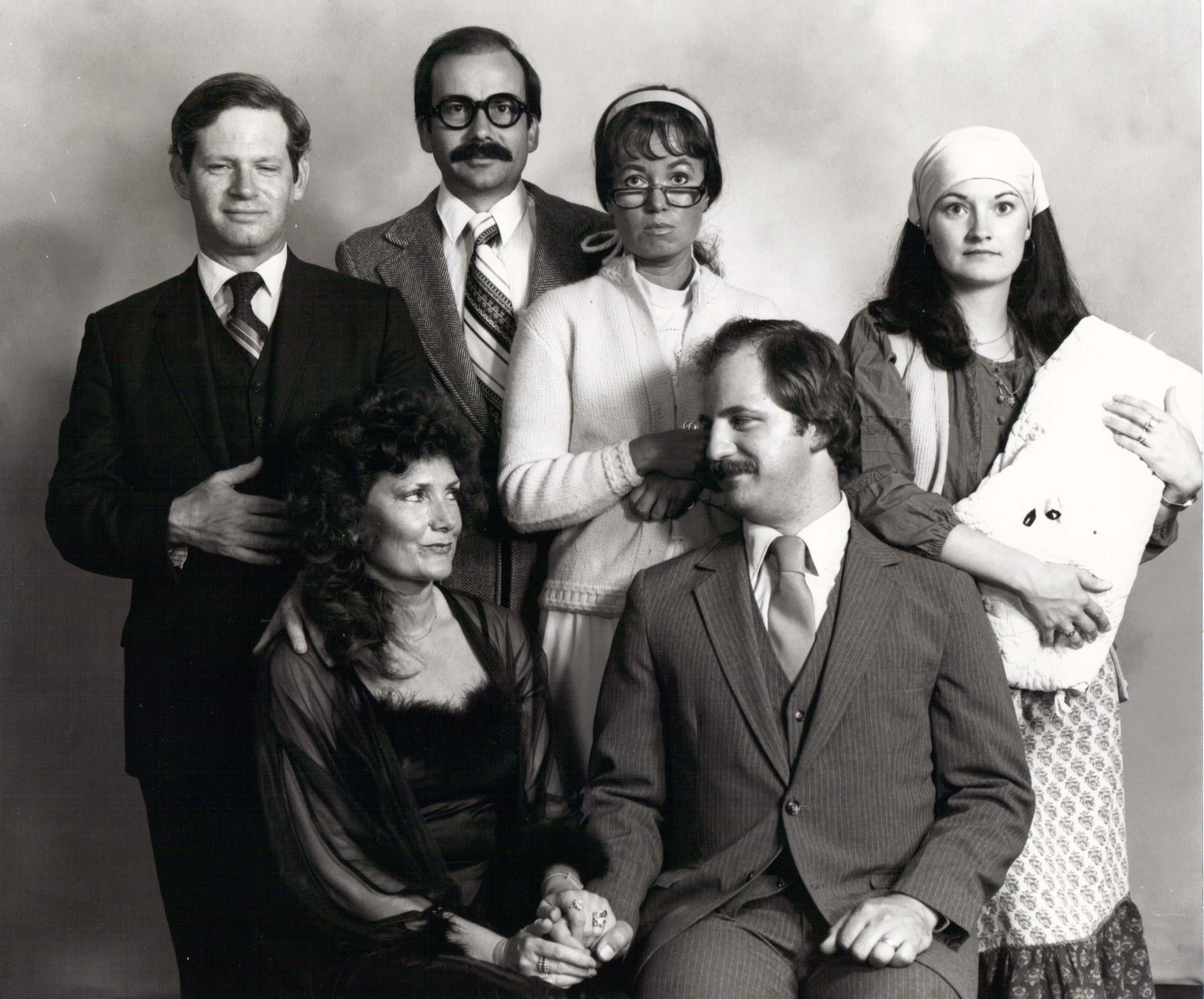 """The Cornville Players ca. 1985 """"How the Other Half Loves""""  Back Row: Bruce Hertz, Jeffrey Quinn, M.J. Clifford, Linda Ewing  Front Row: Jane Arthur, Tim Forsman"""