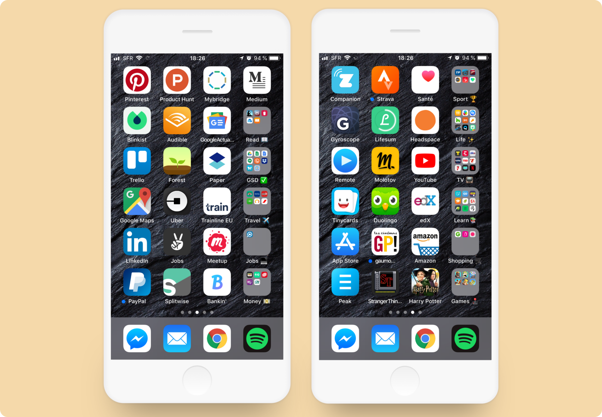 """by Alexandre Levacher  """"What you need is, for each line, to select your top three apps you use the most, and for the fourth slot, to create a folder with the name of the category"""""""