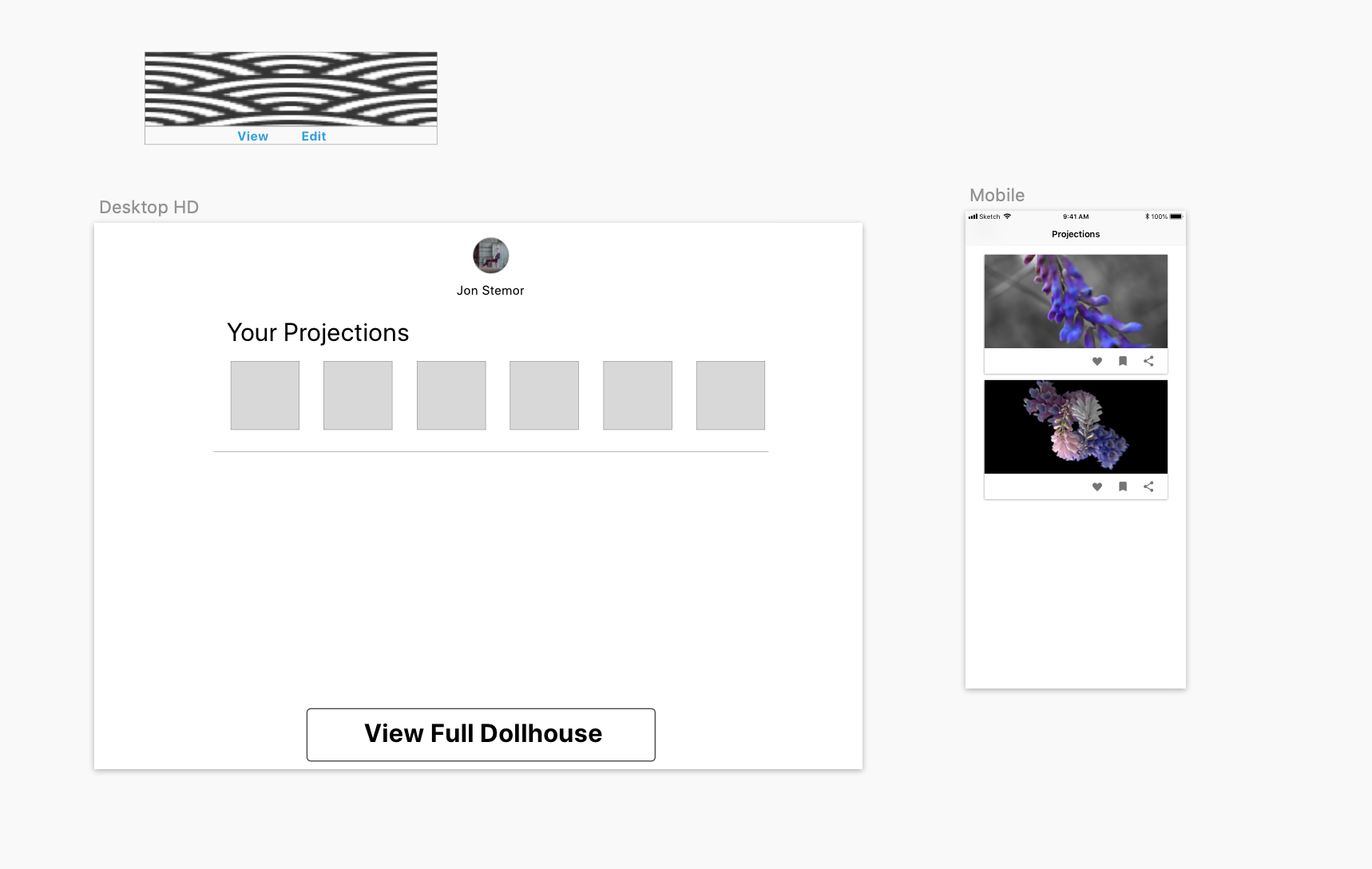 Going to develop a mobile interface to create artwork and view projections