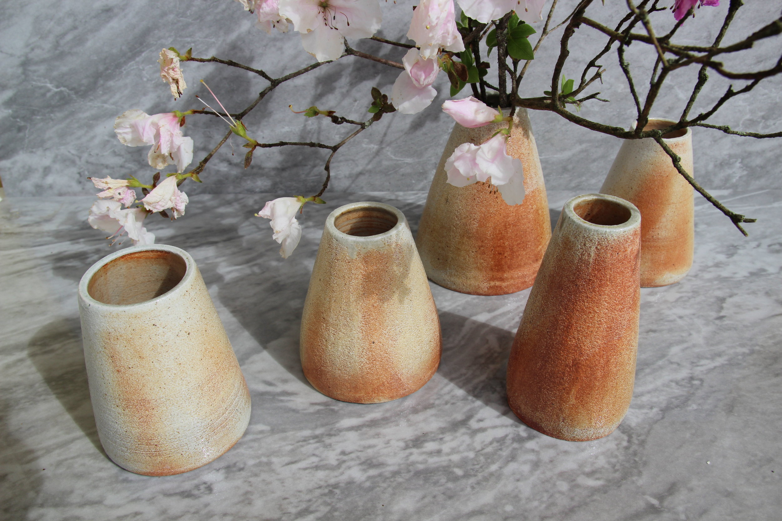 Wood and soda fired vases