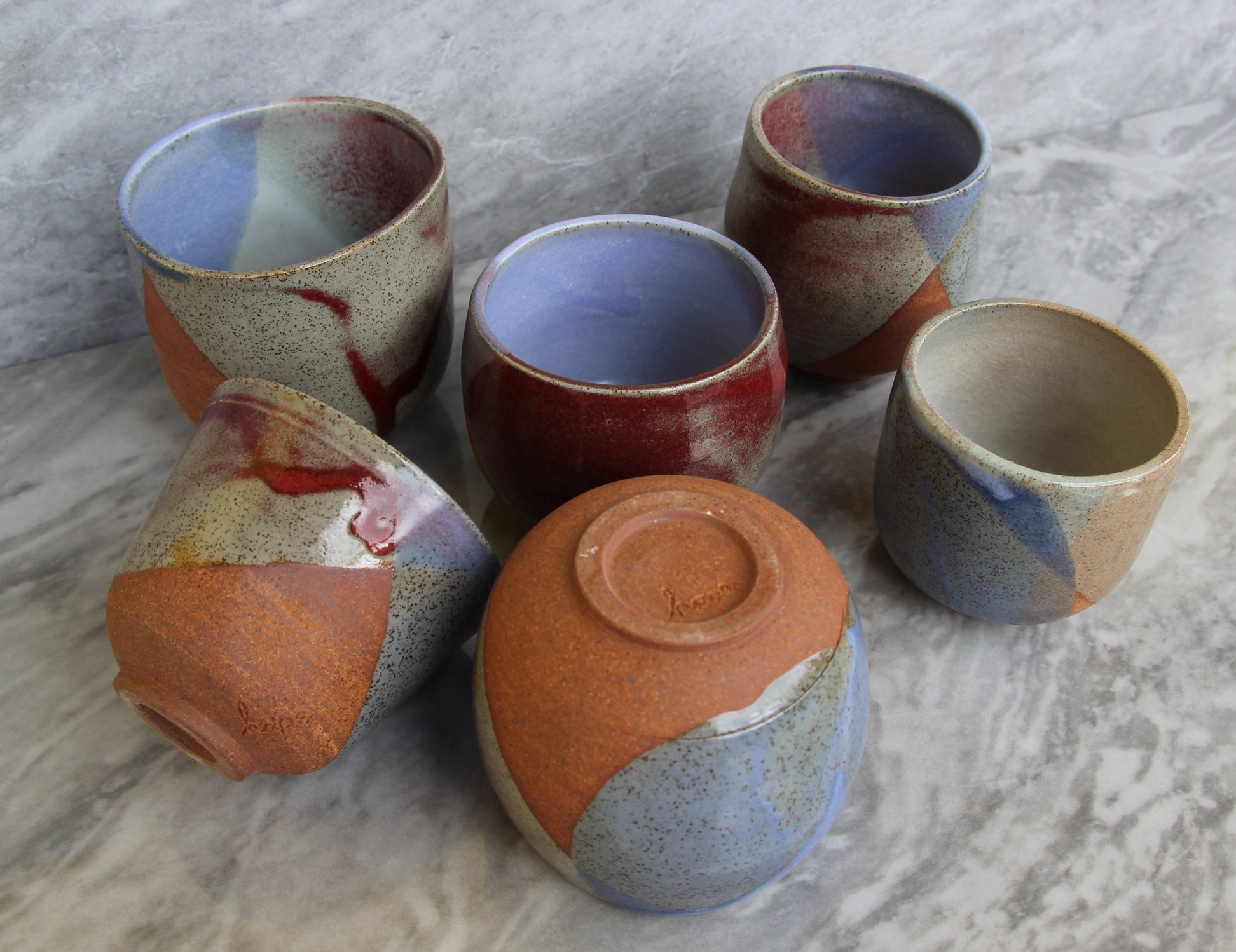 Three tone tumblers with made with local Waikato clay and Raglan Sand