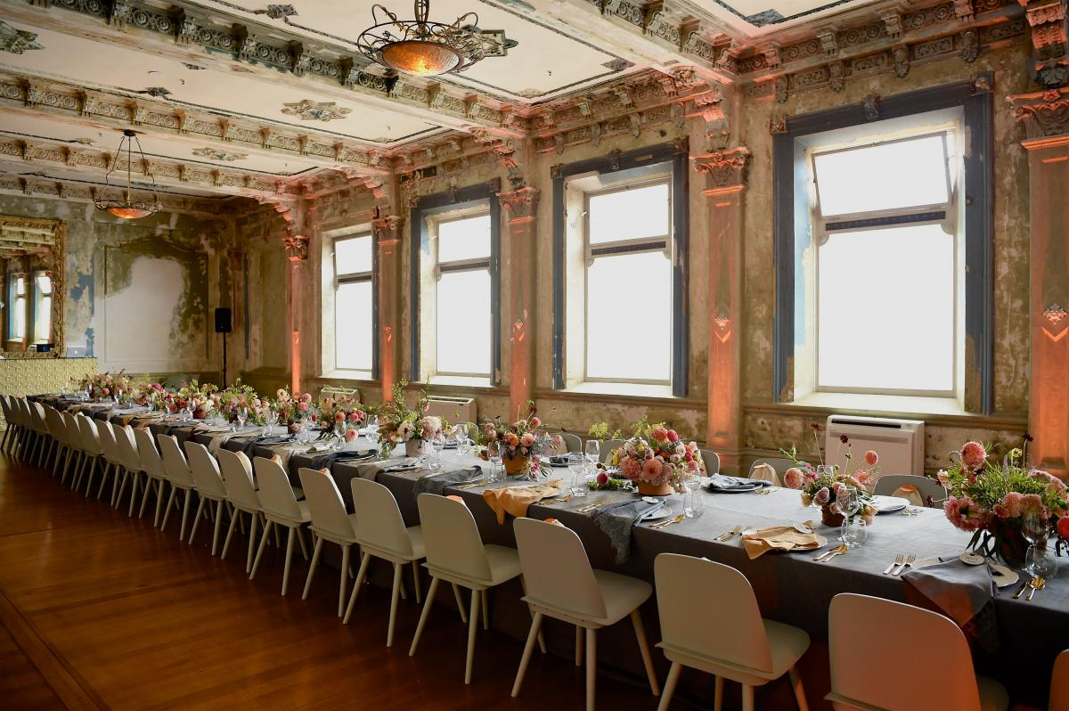 Long table seating arrangement at the George Ballroom - St Kilda