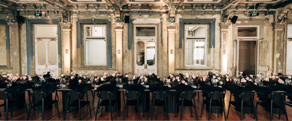 Long table seating arrangement - The George Ballroom, Melbourne.