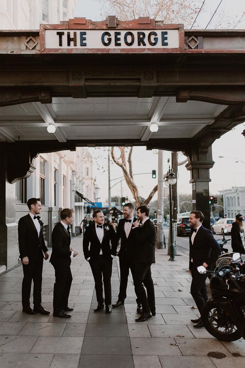The groomsmen outside our Wedding Venue on Fitzroy St, St Kilda.