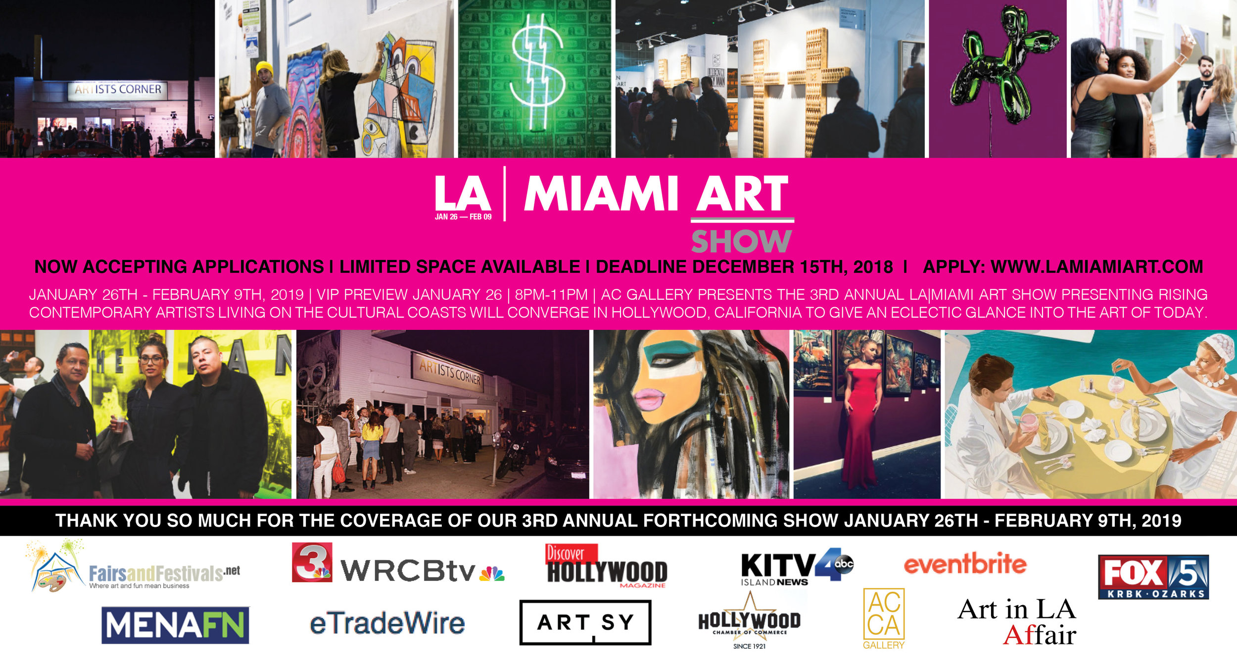 THANK YOU SO MUCH FOR THE COVERAGE OF OUR 3RD ANNUAL FORTHCOMING SHOW JANUARY 26TH-FEBRUARY 9TH, 2019.