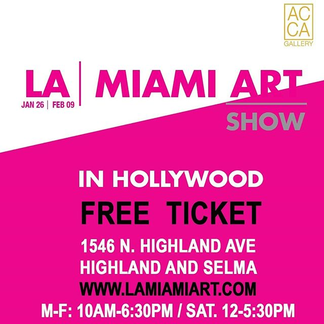 Received complimentary collectible tickets admission to AC Gallery from 10 to 6:30 pm. All week  On view LA / Miami Art Show!  EXHIBITORS  LINZI LYNN | THE BLENDED PERSON | EBRU CAPARTI | AMANDA HARD | KATY PARKS WILSON | NATALIA BERIVAN | RICHARD POPITTI | GEORGE HOBBS | ANGEL MENDOZA | BORIS BEZROUKOV | JOEY JAMES SALEHI | STEVEN WRIGHT | TUCKER WULF | FABIENNE DOUGÉ | ELLEN STERN | BRIAN KUTZA | TERRY PORTER | CANDACE WIGHT | RACHEL GANZ | KAREN BYSTEDT | PATRICK CURTET | MIKEY | BILL DOBBINS | MR. MK ULTRA | JEAN-MICHEL BASQUIAT | RICARDO AGUILAR  Black lights Murals activated by @braydenart @mrmk_ultra @andrewsoria_art  Gallery Network Partners @artnet @artsy  Official payment service partner @square  @thehollywoodroosevelt @dreamhotelsla @loewshollywood  @japanhousela @hollywoodchamberofcommerce @jimmykimmellive #hollywood  @Artistscornergallery @DianeRosenstein @Gavlakgallery @JeffreyDeitchgallery @KohnGallery @RegenProjects @Steveturnerla @Tanyabonakdargallery  #hollywoodwalkoffame #egyptiantheatrehollywood @innout  @melsdrivein @innoutpeople  @dolbytheatre @chinesetheatres @hardrockcafe @magiccastleofficial  @yamashirola @taola @warwick_la