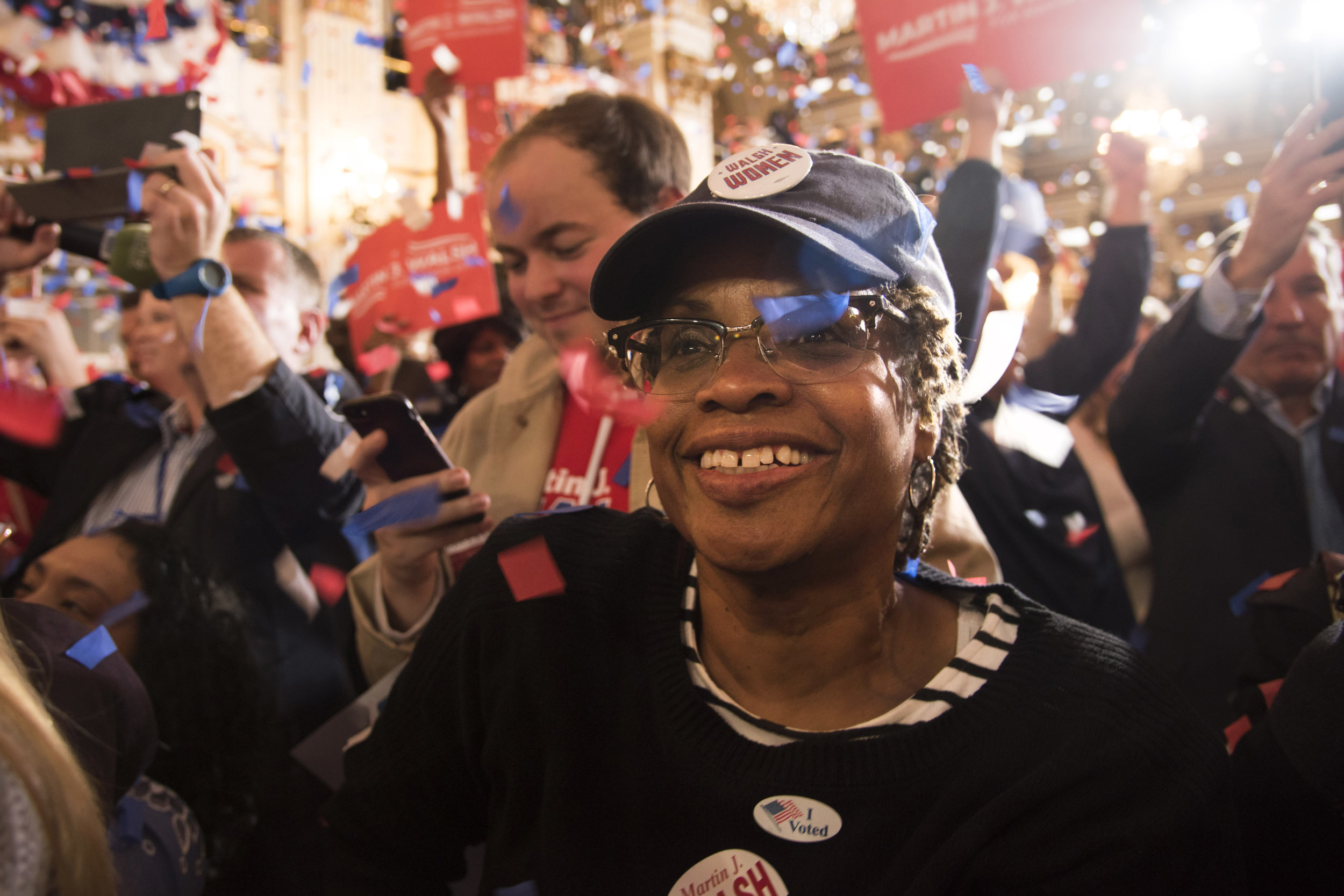 Dwan Packnett, a Walsh supporter, smiles after Mayor Martin J. Walsh's speech during the Team Walsh Election Night Celebration at the Fairmont Copley Square Hotel in Boston on November 7.