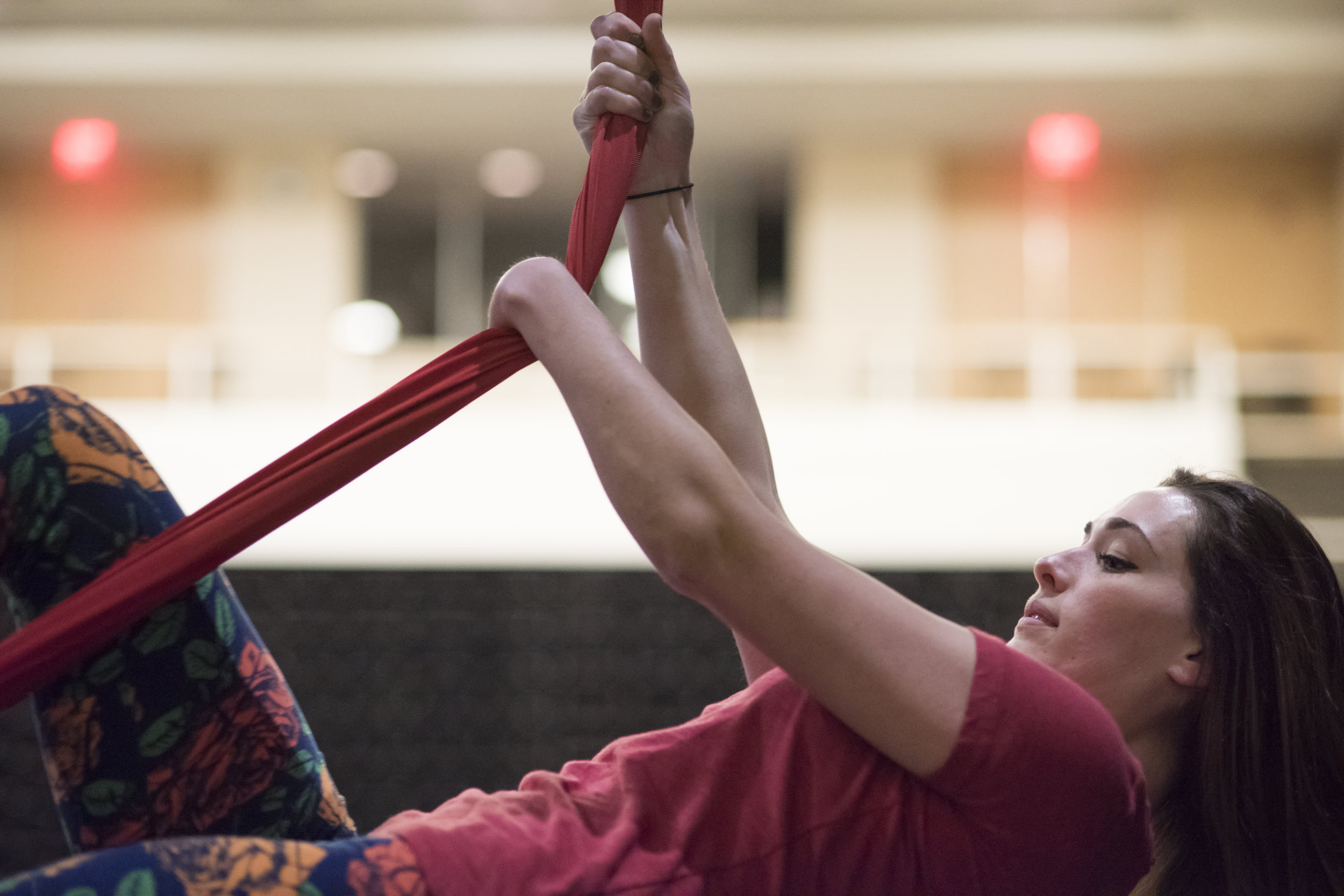 "In order to perform certain aerial moves that typically require hand grip, Tuberty makes use of her left wrist to hold herself in a hanging position. ""It's all about finding those extra steps; those ways to support myself while still being safe and still able to do the different things,"" she said."