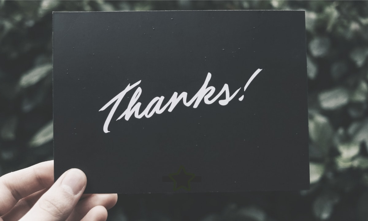 Thank you card for our content marketing clients.