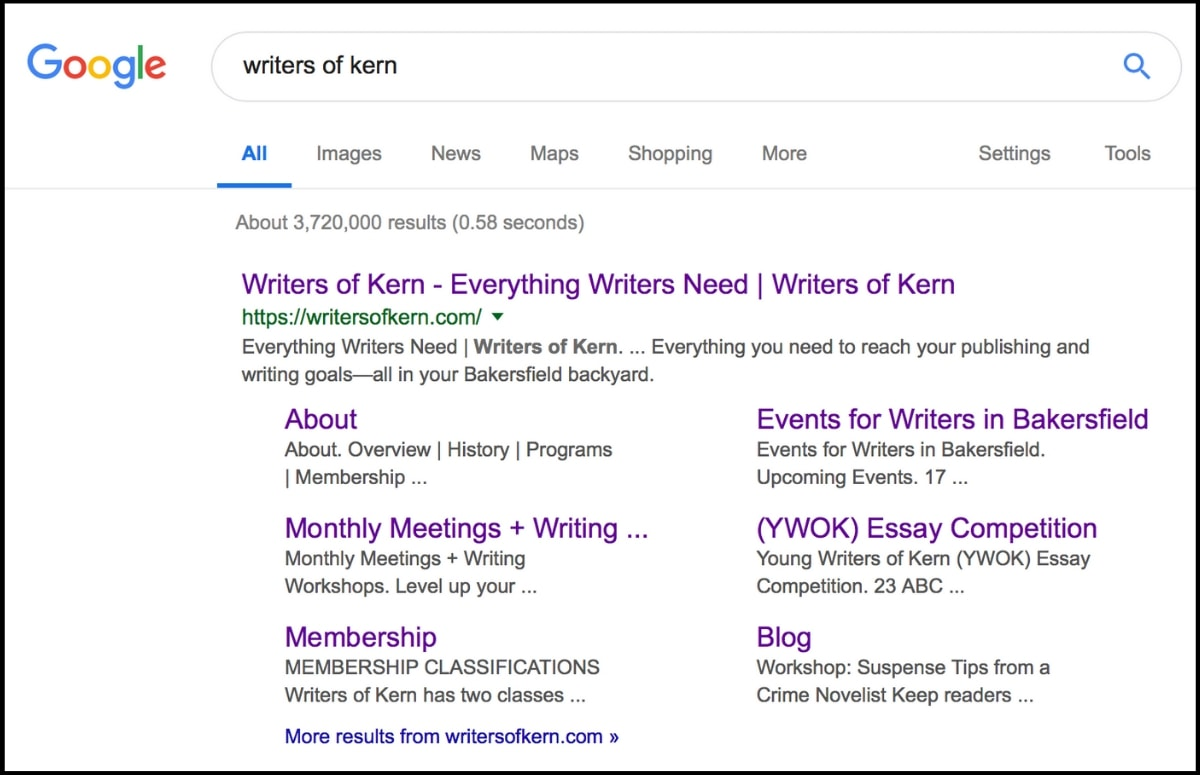 Writers of Kern's updated digital marketing strategy earned them royalty status on Google—first page results and multiple sitelinks to their pages.