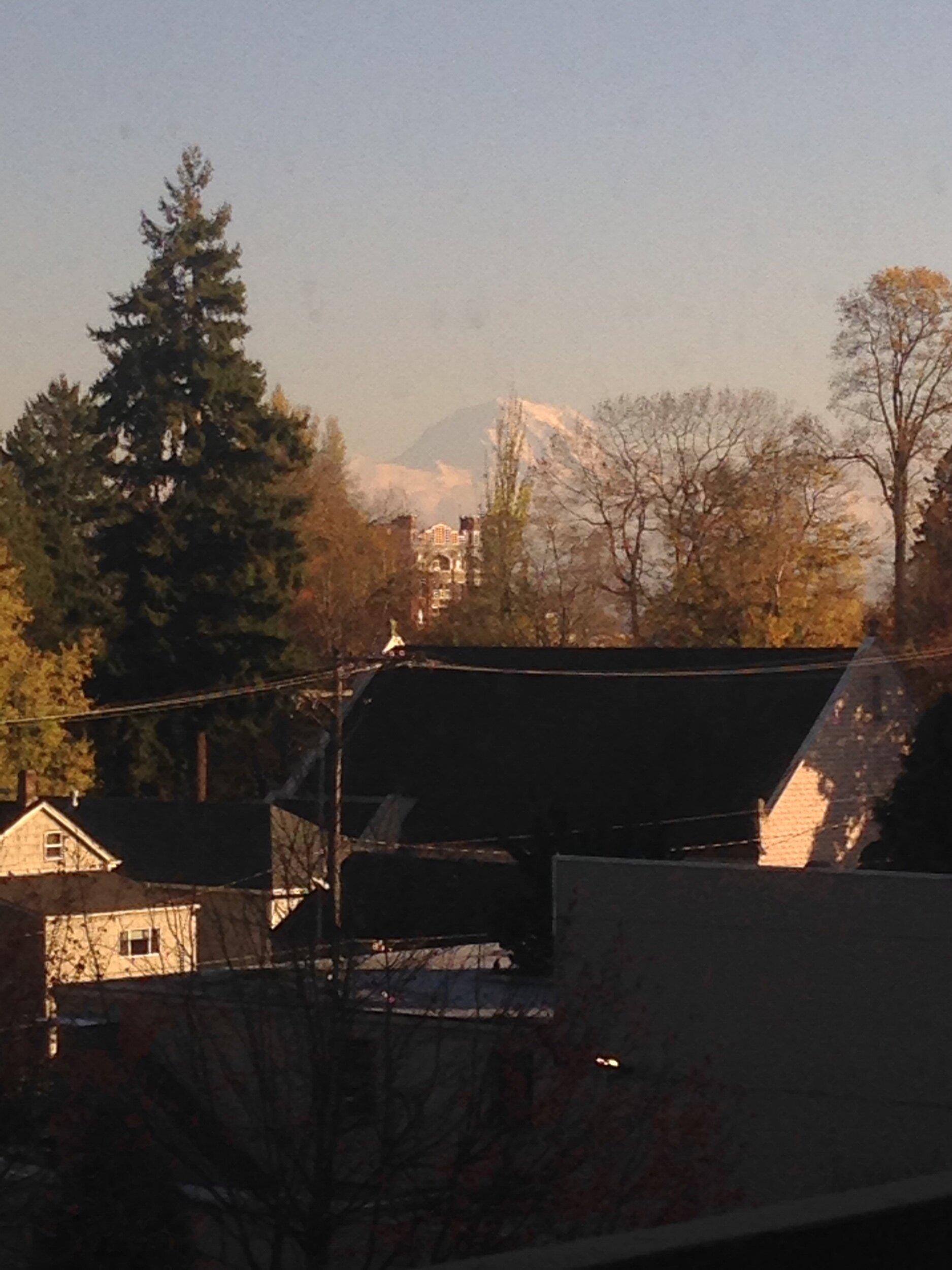 View of Mount Rainier from Eva's room.