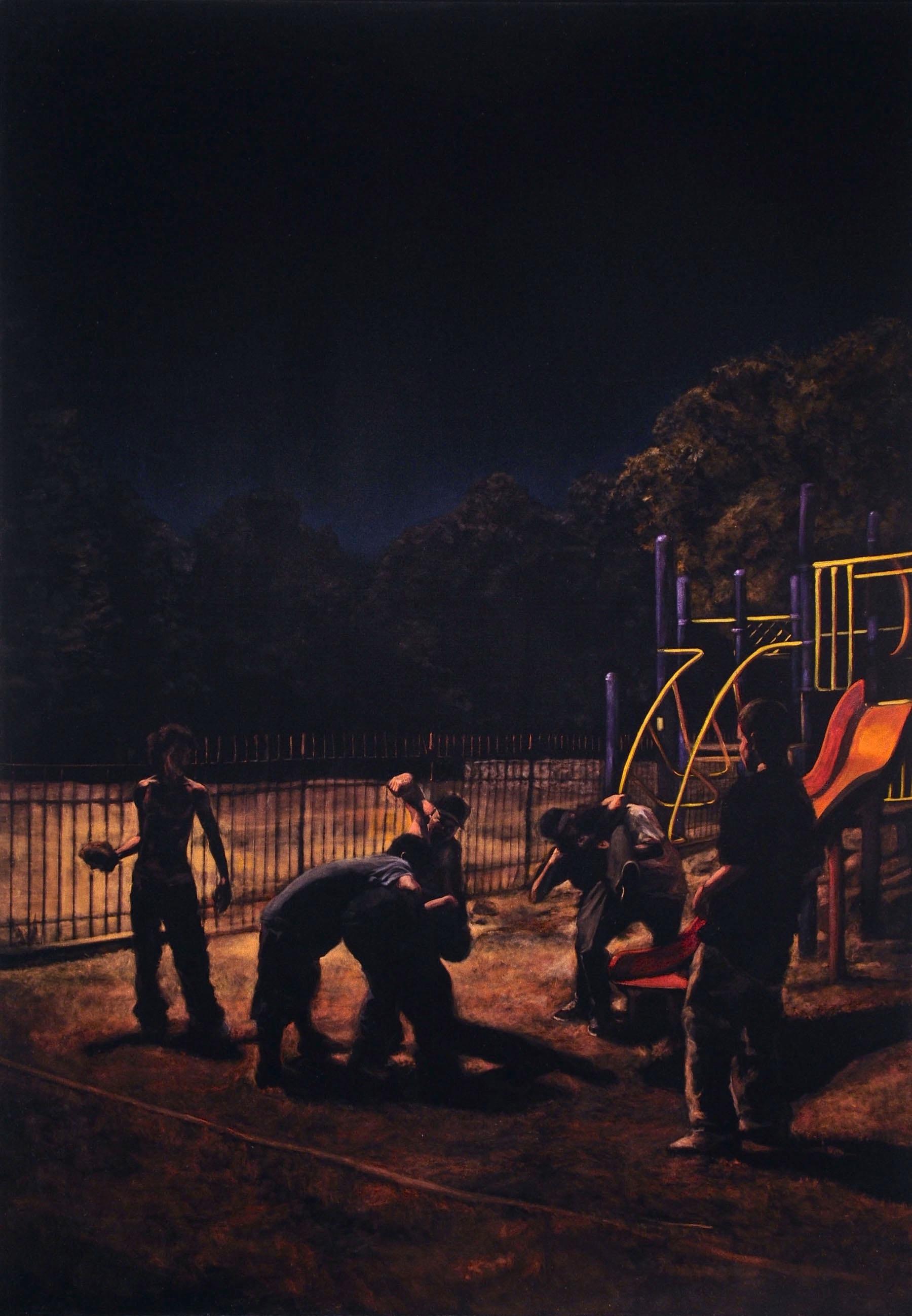 Tracy Adkins Park  acrylic on velvet  60 x 42 inches