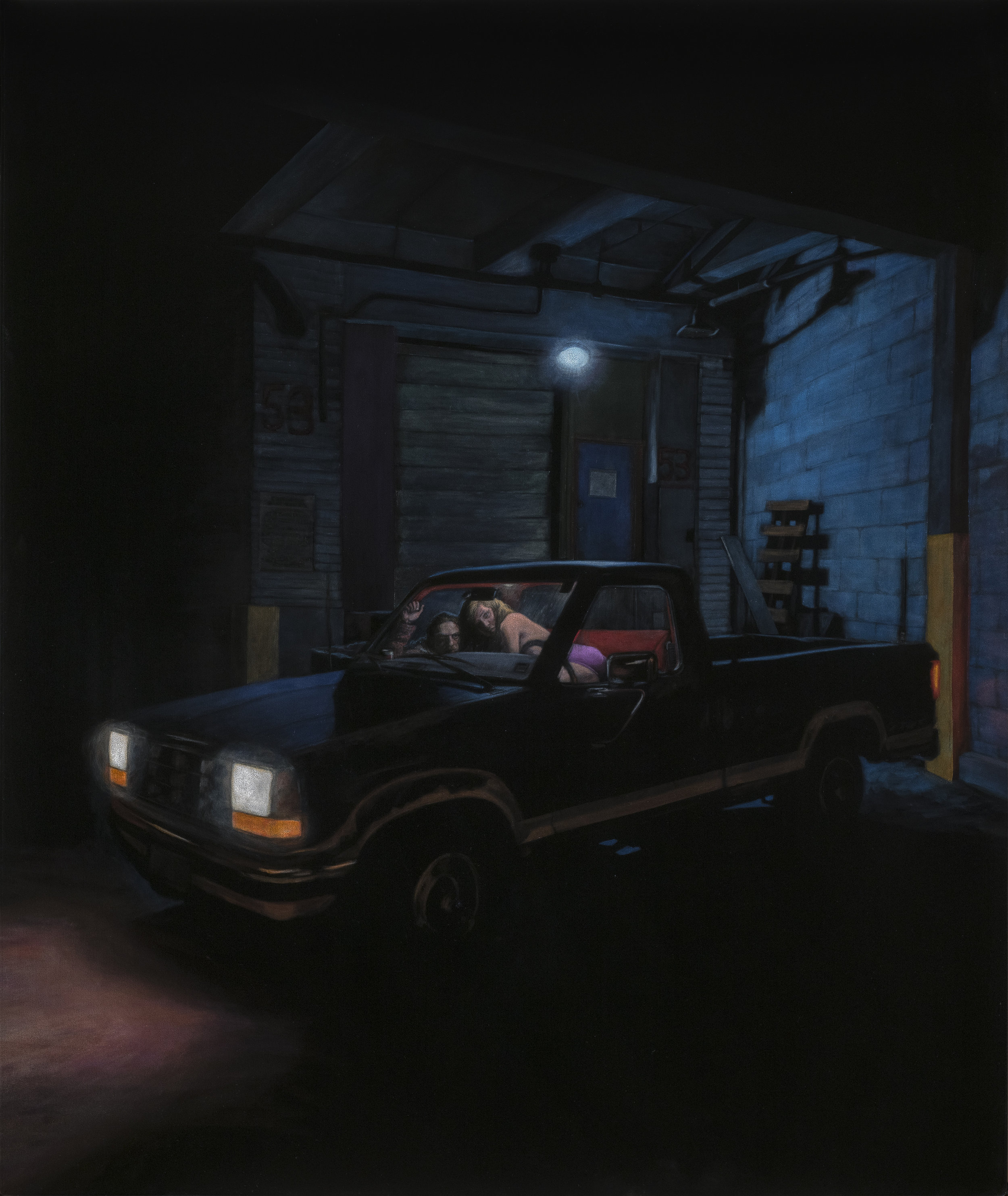 The Pick-Up  acrylic on velvet  50 x 42 inches
