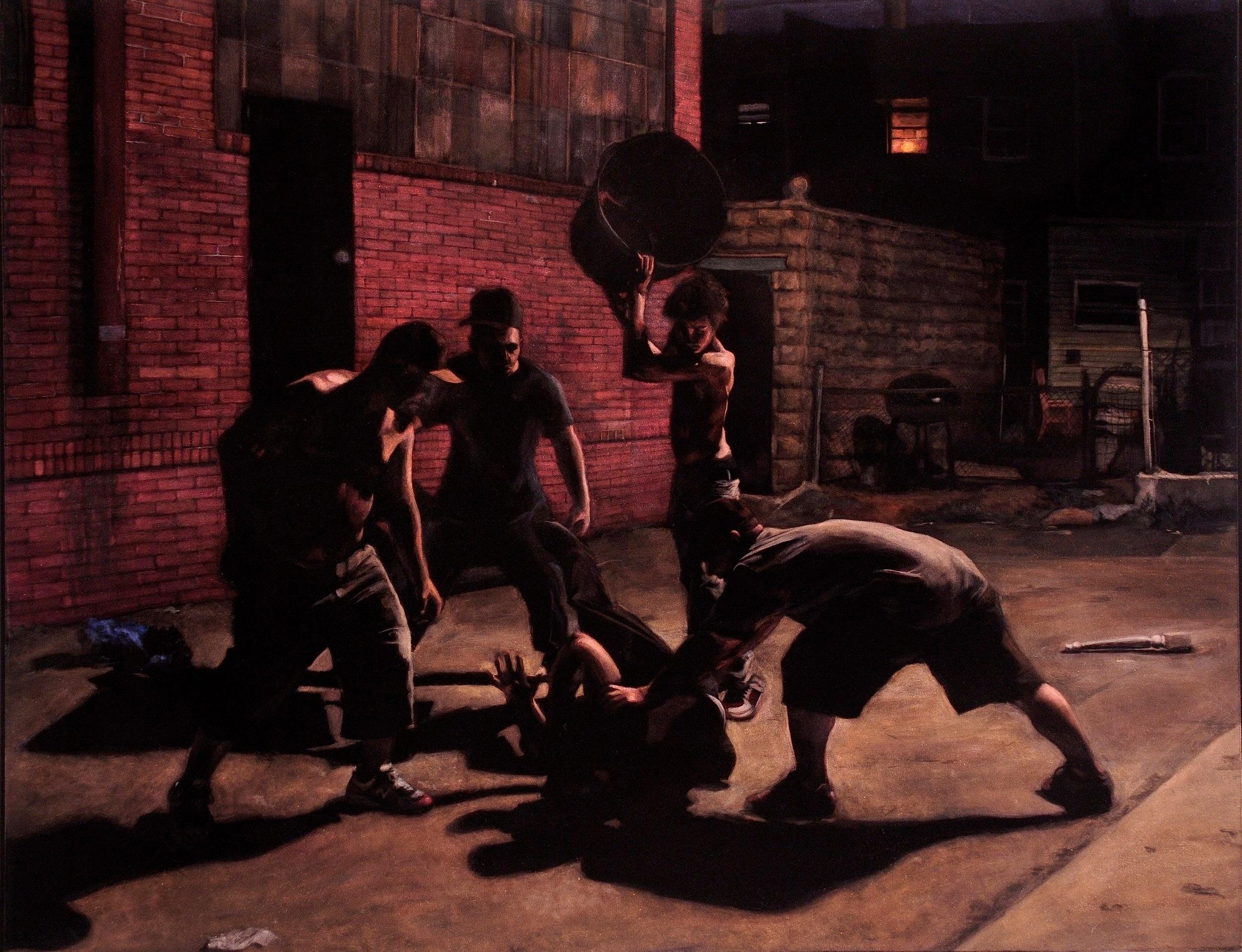 Beatdown  acrylic on velvet  42 x 54 inches
