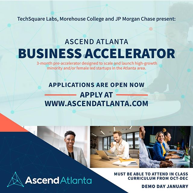 🗣🗣🗣APPLY NOW!! Ascend Atlanta is a 3-month accelerator program for women and underrepresented startup founders that are poised for growth and scalability in the areas of customer acquisition, revenue and job creation.  In other words, winning 🏃🏾♀️🙌🏾💪🏾 Applications are open now go to www.AscendAtlanta.com  #atlanta #tech #startups #startupgrowth #accelerator #startupsupport #winning