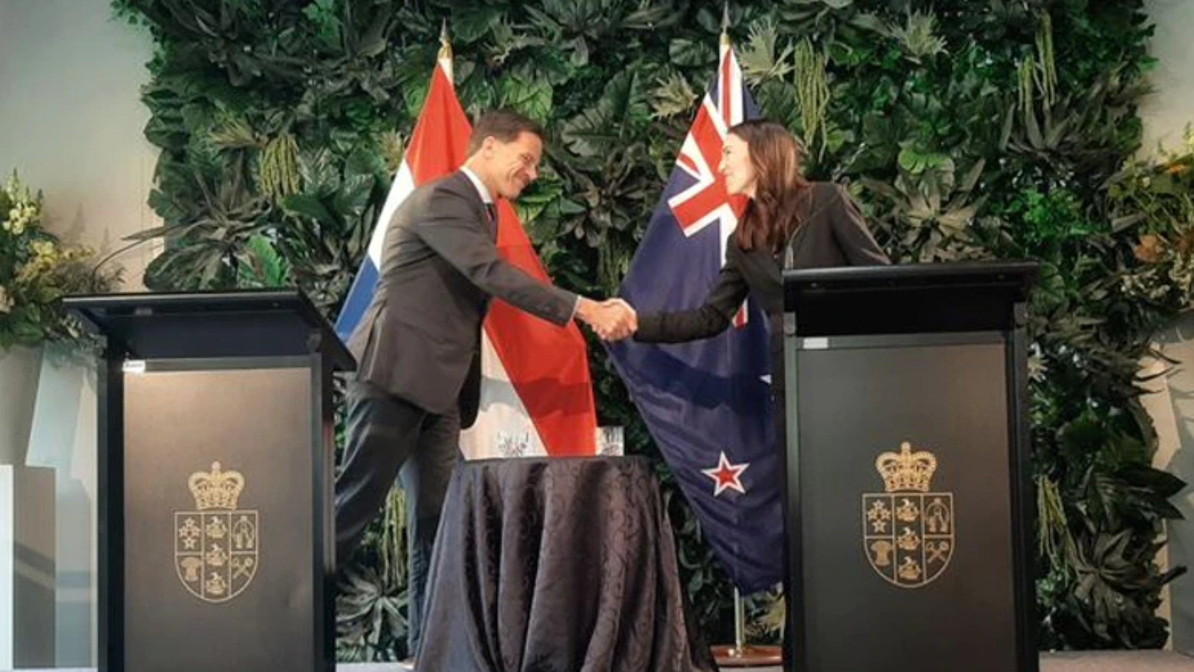 Netherlands Prime Minister Mark Rutte and Prime Minister Jacinda Ardern of New Zealand  Source: One News New Zealand