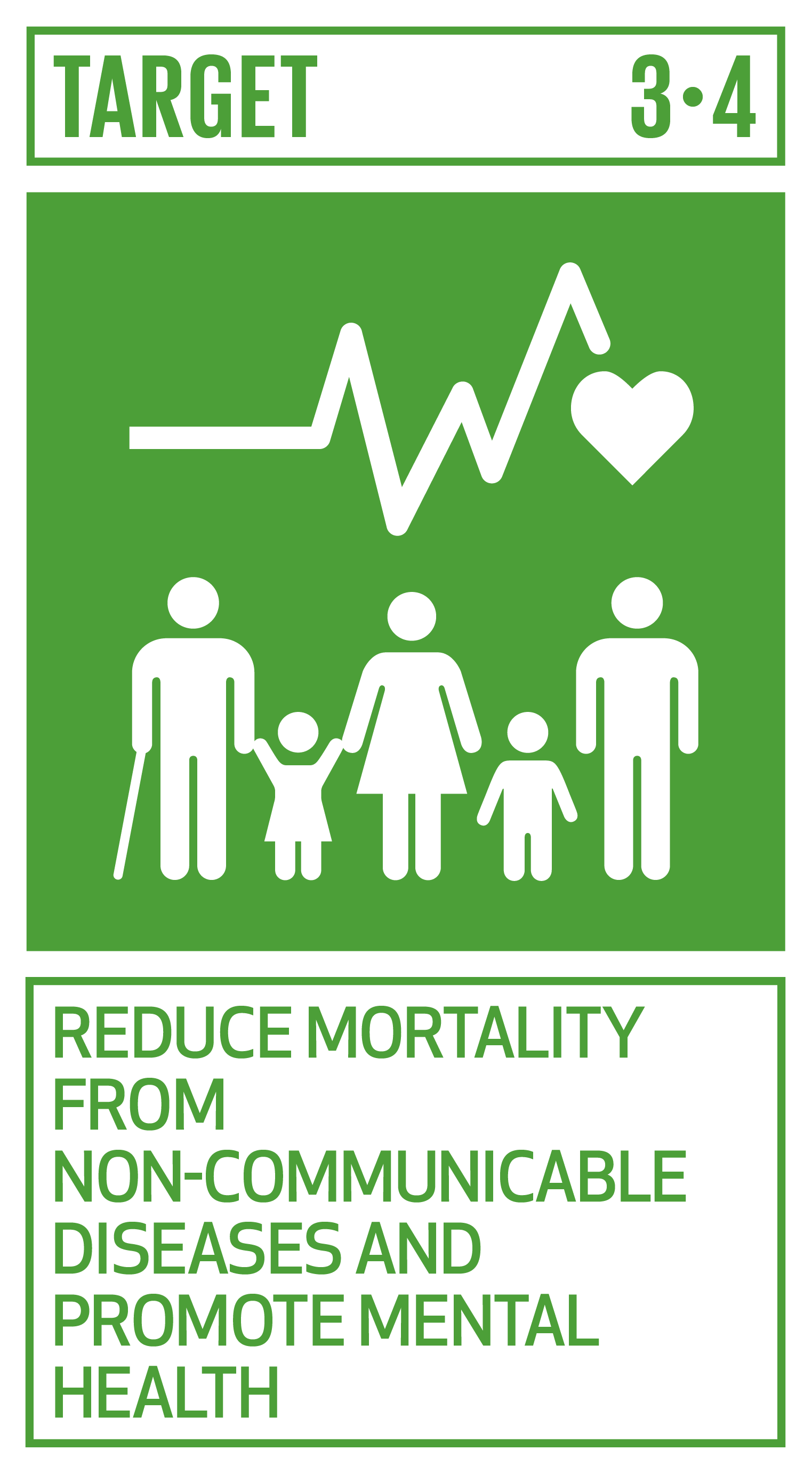 By 2030, reduce by one third premature mortality from non-communicable diseases through prevention and treatment and promote mental health and well-being.   INDICATORS    3.4.1  Mortality rate attributed to cardiovascular disease, cancer, diabetes or chronic respiratory disease   3.4.2  Suicide mortality rate