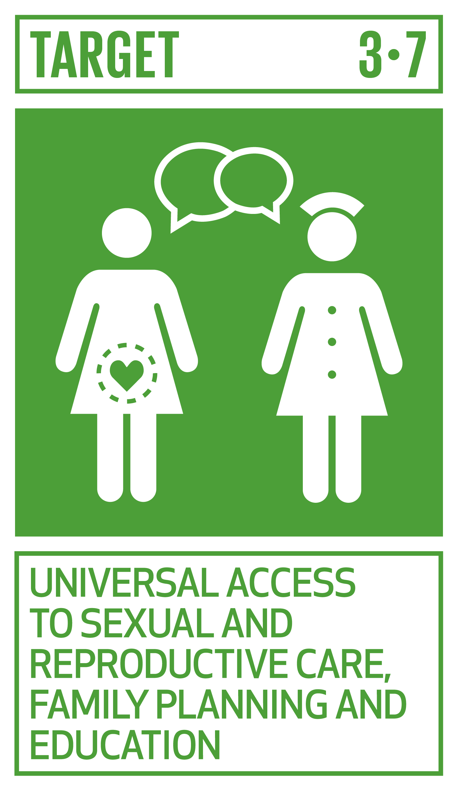 By 2030, ensure universal access to sexual and reproductive health-care services, including for family planning, information and education, and the integration of reproductive health into national strategies and programmes.   INDICATORS    3.7.1  Proportion of women of reproductive age (aged 15–49 years) who have their need for family planning satisfied with modern methods   3.7.2  Adolescent birth rate (aged 10–14 years; aged 15–19 years) per 1,000 women in that age group
