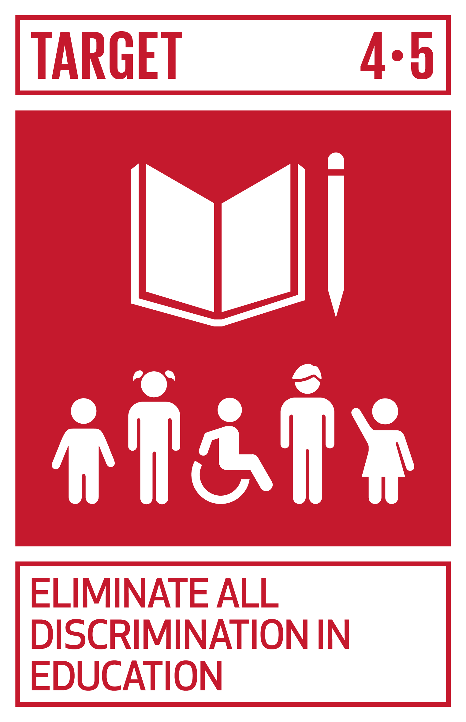 By 2030, eliminate gender disparities in education and ensure equal access to all levels of education and vocational training for the vulnerable, including persons with disabilities, indigenous peoples and children in vulnerable situations.   INDICATOR    4.5.1  Parity indices (female/male, rural/urban, bottom/top wealth quintile and others such as disability status, indigenous peoples and conflict-affected, as data become available) for all education indicators on this list that can be disaggregated
