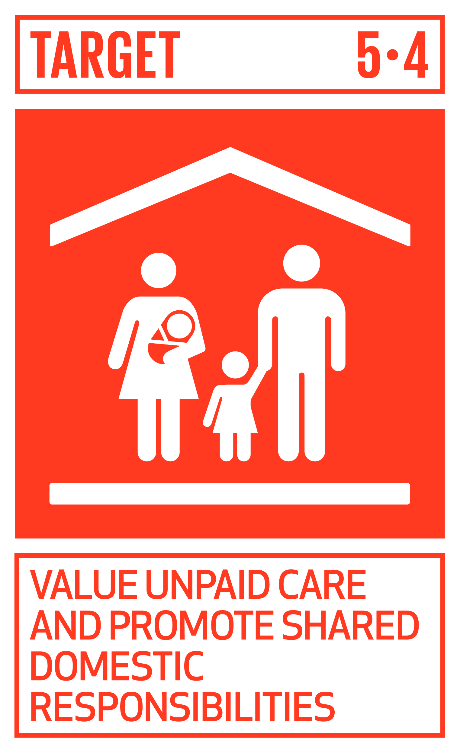 Recognize and value unpaid care and domestic work through the provision of public services, infrastructure and social protection policies and the promotion of shared responsibility within the household and the family as nationally appropriate.   INDICATOR    5.4.1  Proportion of time spent on unpaid domestic and care work, by sex, age and location