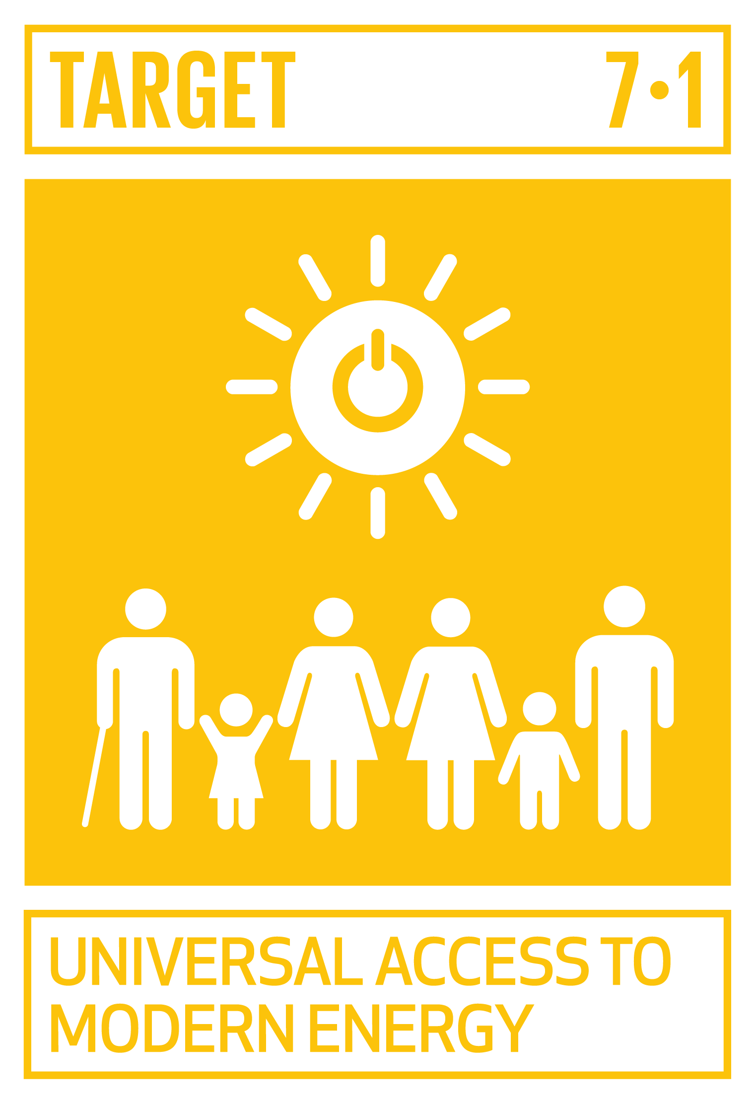 By 2030, ensure universal access to affordable, reliable and modern energy services.   INDICATORS    7.1.1  Proportion of population with access to electricity   7.1.2  Proportion of population with primary reliance on clean fuels and technology