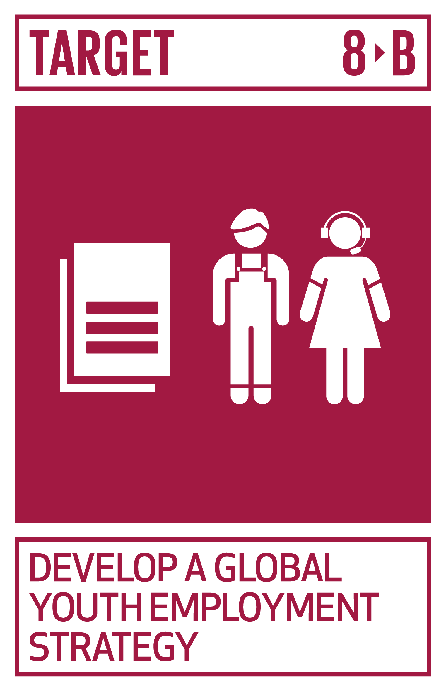 By 2020, develop and operationalize a global strategy for youth employment and implement the Global Jobs Pact of the International Labour Organization.   INDICATOR    8.b.1  Existence of a developed and operationalized national strategy for youth employment, as a distinct strategy or as part of a national employment strategy