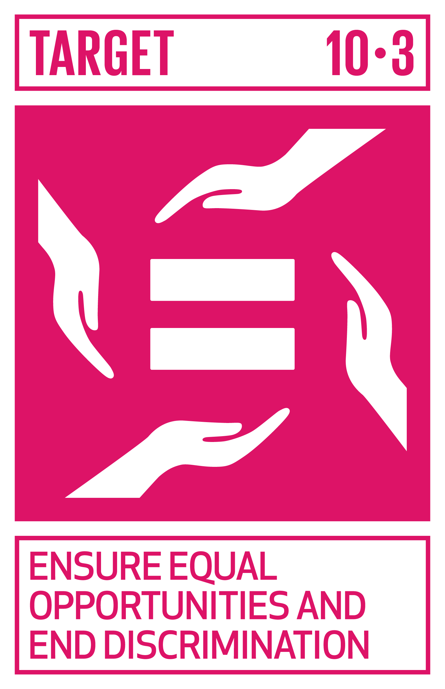 Ensure equal opportunity and reduce inequalities of outcome, including by eliminating discriminatory laws, policies and practices and promoting appropriate legislation, policies and action in this regard.   INDICATOR    10.3.1  Proportion of population reporting having personally felt discriminated against or harassed in the previous 12 months on the basis of a ground of discrimination prohibited under international human rights law