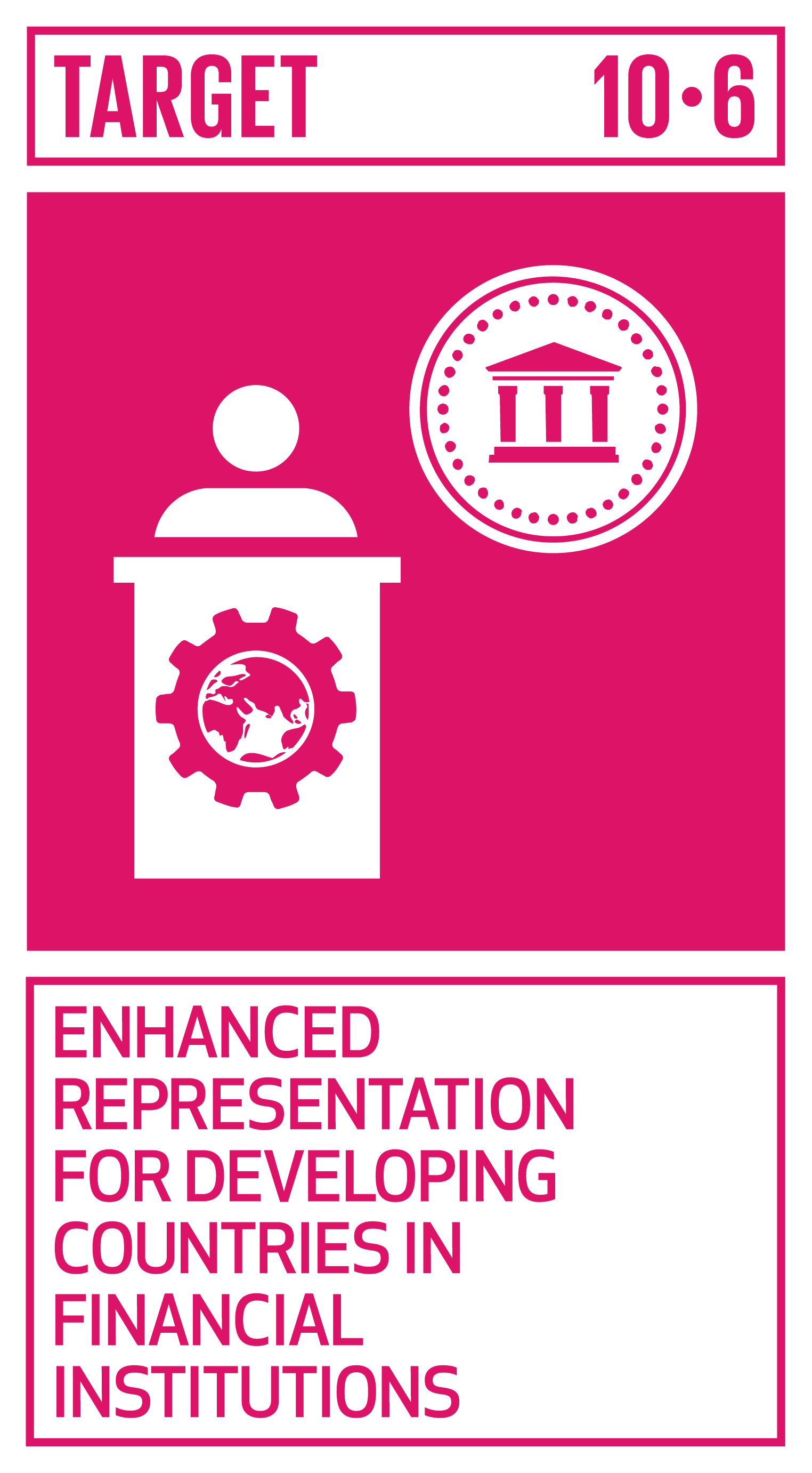 Ensure enhanced representation and voice for developing countries in decision-making in global international economic and financial institutions in order to deliver more effective, credible, accountable and legitimate institutions.   INDICATOR    10.6.1  Proportion of members and voting rights of developing countries in international organizations