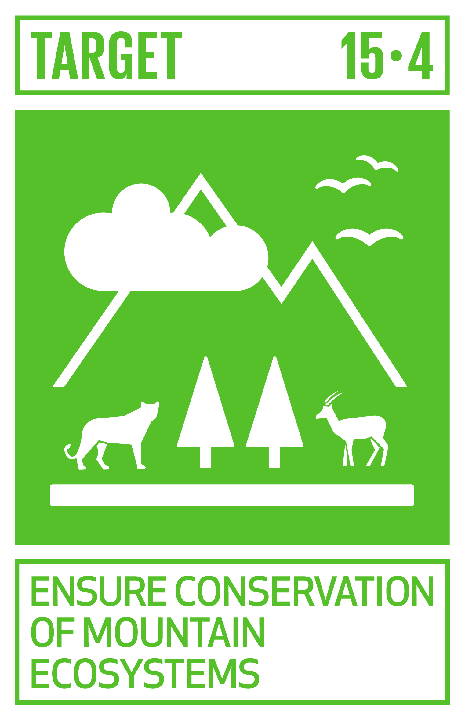 By 2030, ensure the conservation of mountain ecosystems, including their biodiversity, in order to enhance their capacity to provide benefits that are essential for sustainable development.   INDICATORS    15.4.1  Coverage by protected areas of important sites for mountain biodiversity   15.4.2  Mountain Green Cover Index
