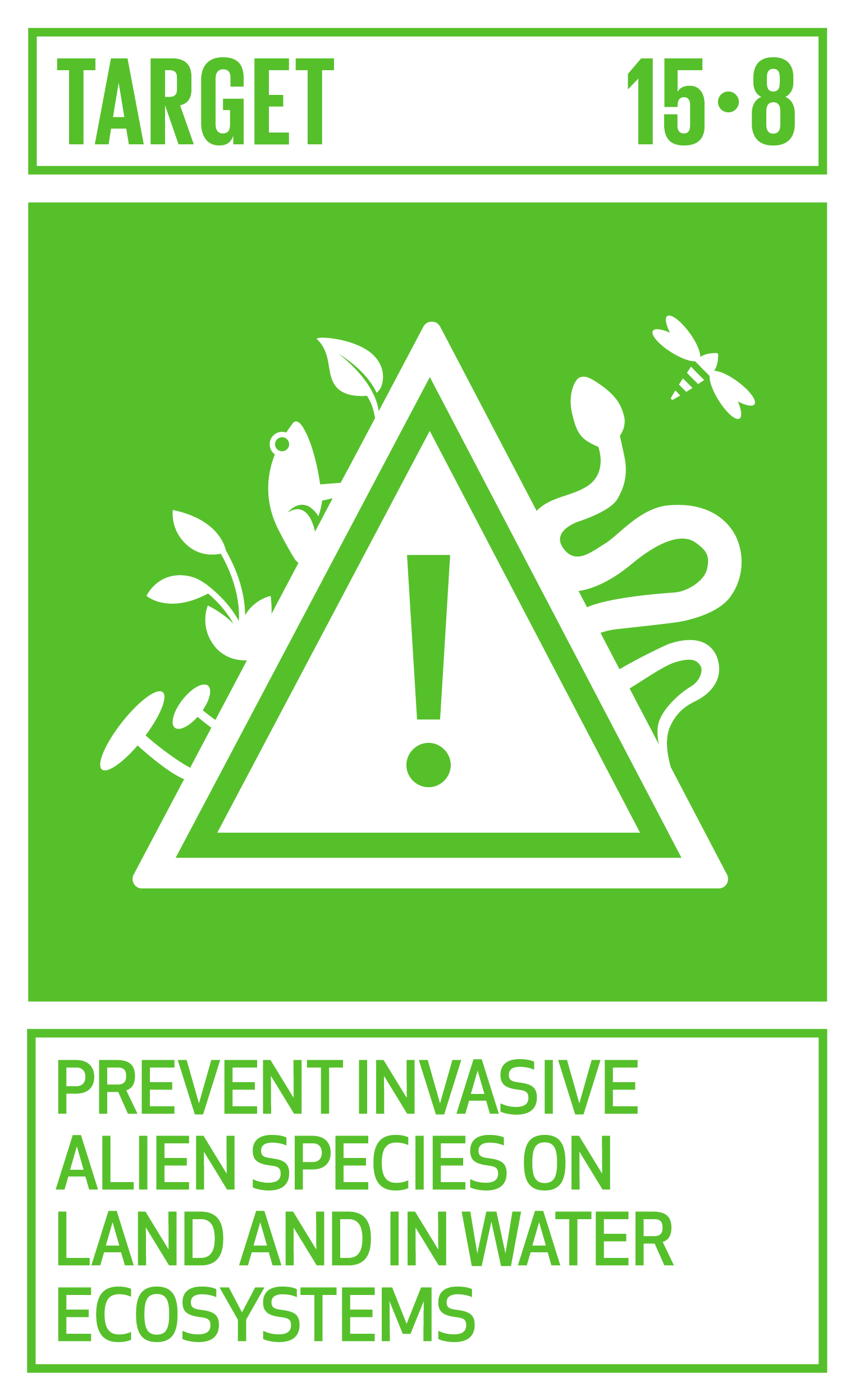 By 2020, introduce measures to prevent the introduction and significantly reduce the impact of invasive alien species on land and water ecosystems and control or eradicate the priority species.   INDICATOR    15.8.1  Proportion of countries adopting relevant national legislation and adequately resourcing the prevention or control of invasive alien species