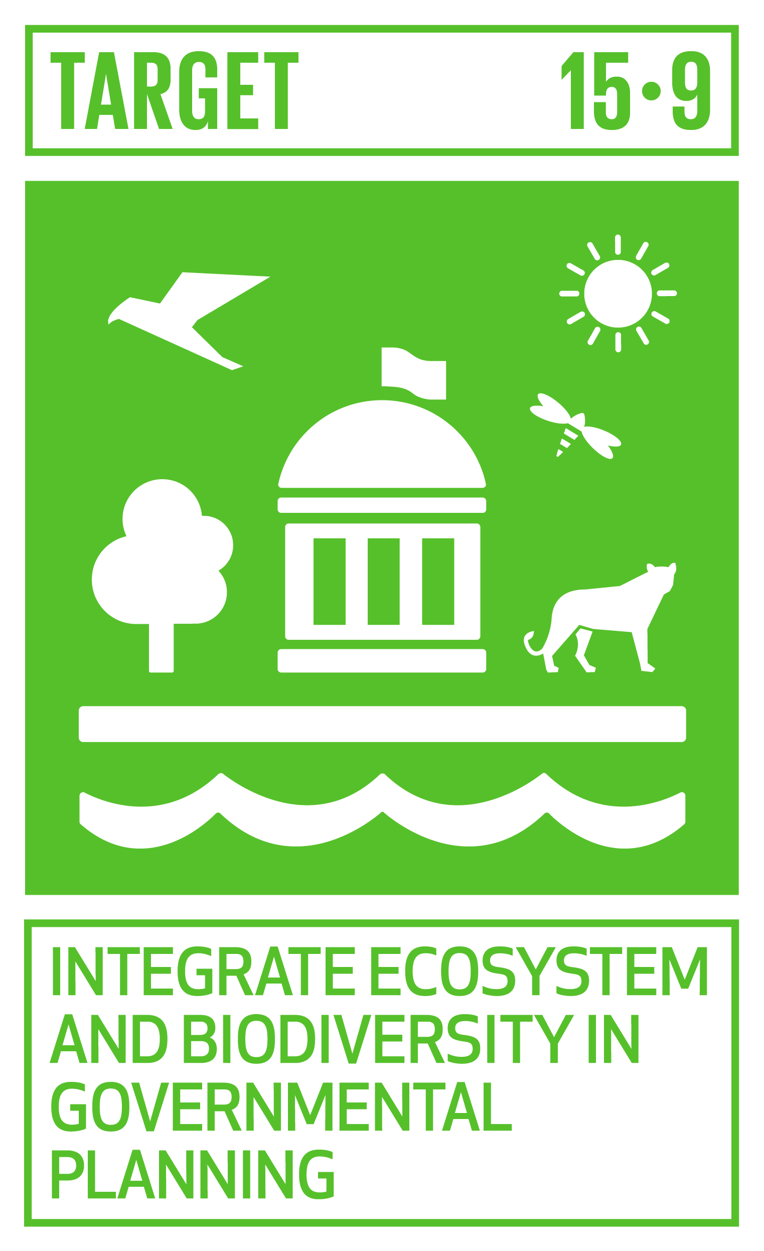 By 2020, integrate ecosystem and biodiversity values into national and local planning, development processes, poverty reduction strategies and accounts.   INDICATOR    15.9.1  Progress towards national targets established in accordance with Aichi Biodiversity Target 2 of the Strategic Plan for Biodiversity 2011–2020