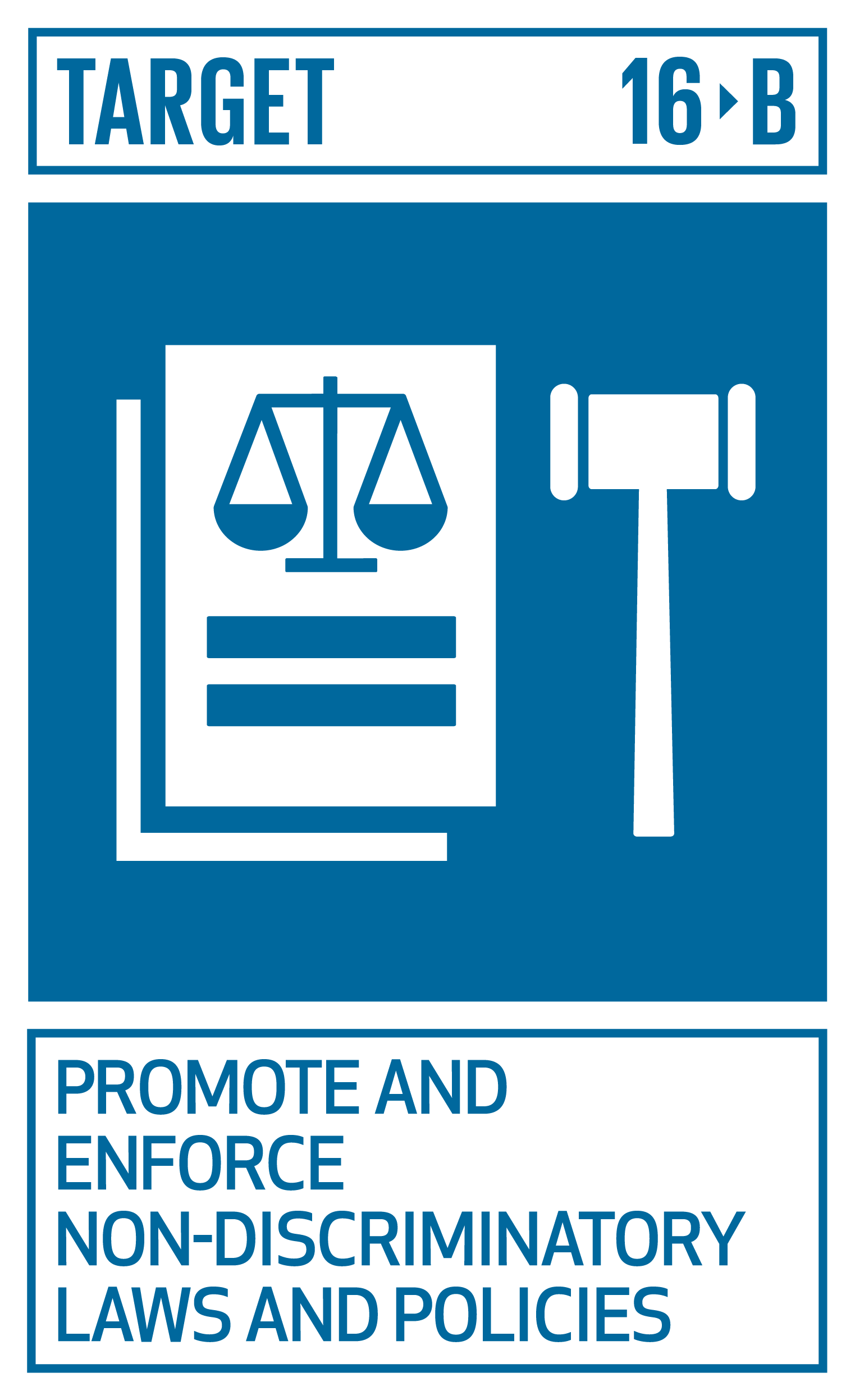 Promote and enforce non-discriminatory laws and policies for sustainable development.   INDICATOR    16.b.1  Proportion of population reporting having personally felt discriminated against or harassed in the previous 12 months on the basis of a ground of discrimination prohibited under international human rights law