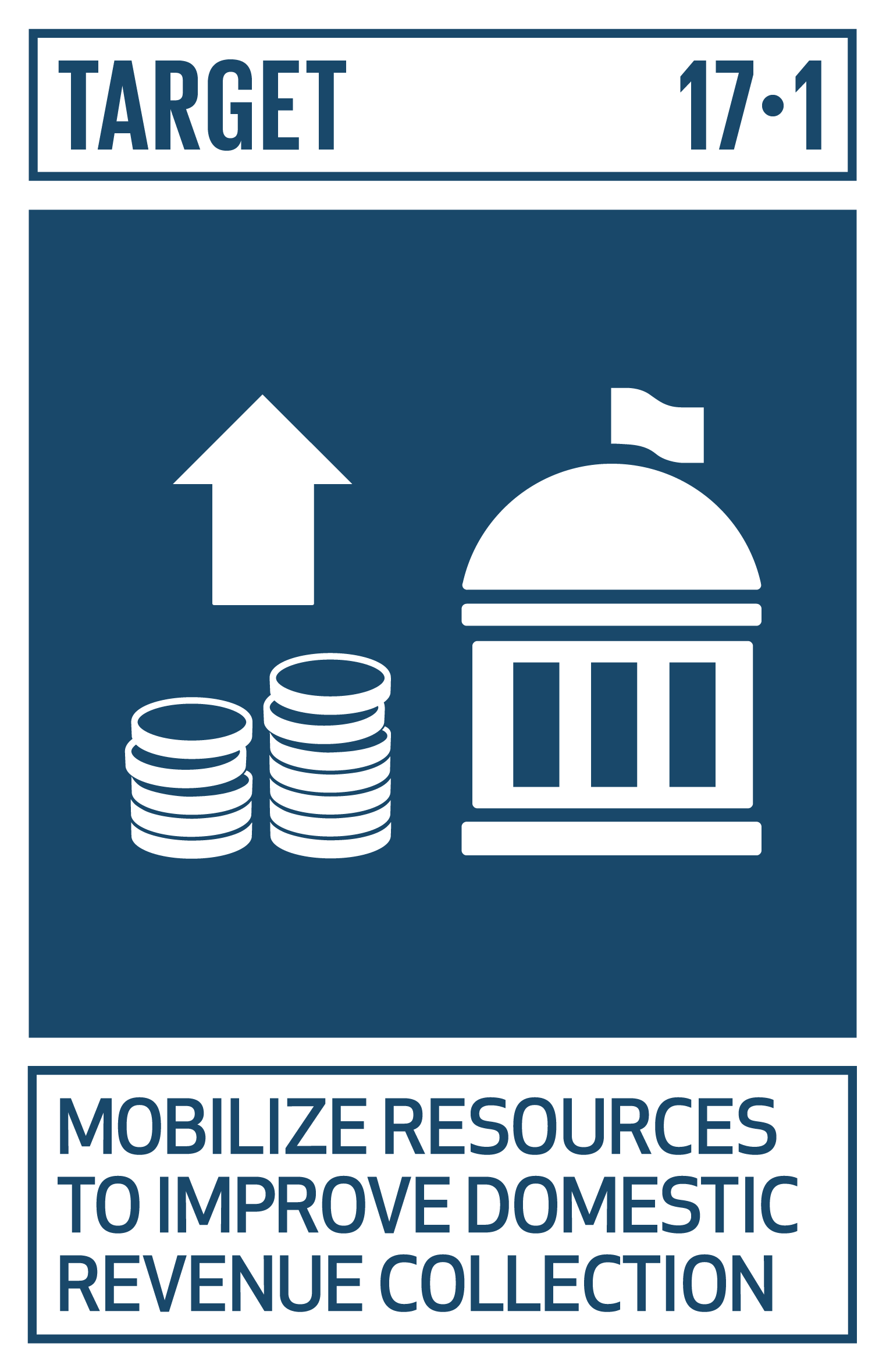 FINANCE TARGET   Strengthen domestic resource mobilization, including through international support to developing countries, to improve domestic capacity for tax and other revenue collection.   INDICATORS    17.1.1  Total government revenue as a proportion of GDP, by source   17.1.2  Proportion of domestic budget funded by domestic taxes