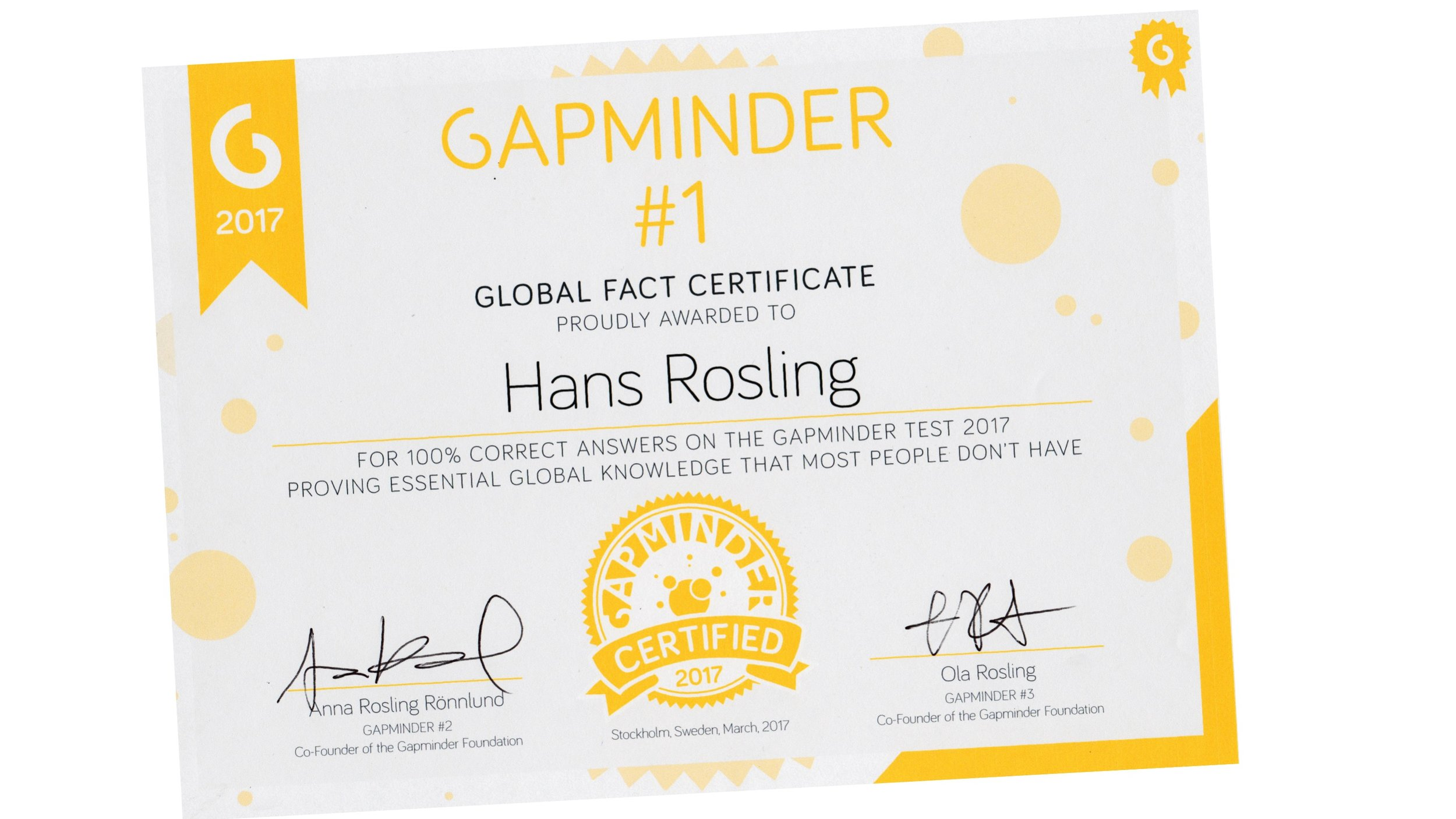 Take the  Gapminder Test 2018  and earn your Gapminder Facts Certificate 2018! Download  2018 Questions .