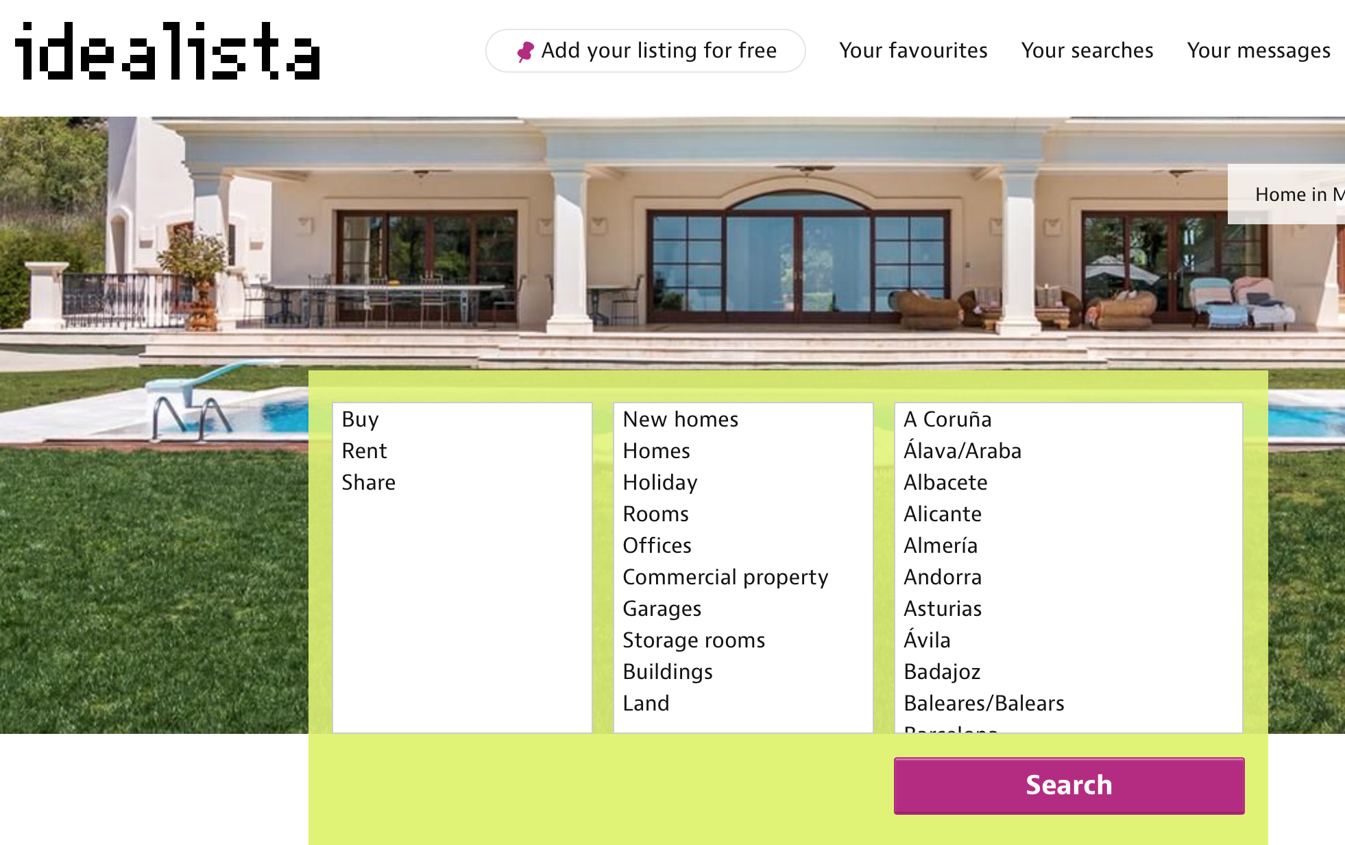 screen shot from www.idealista.com. Where I have found ads for places to rent in Spain.