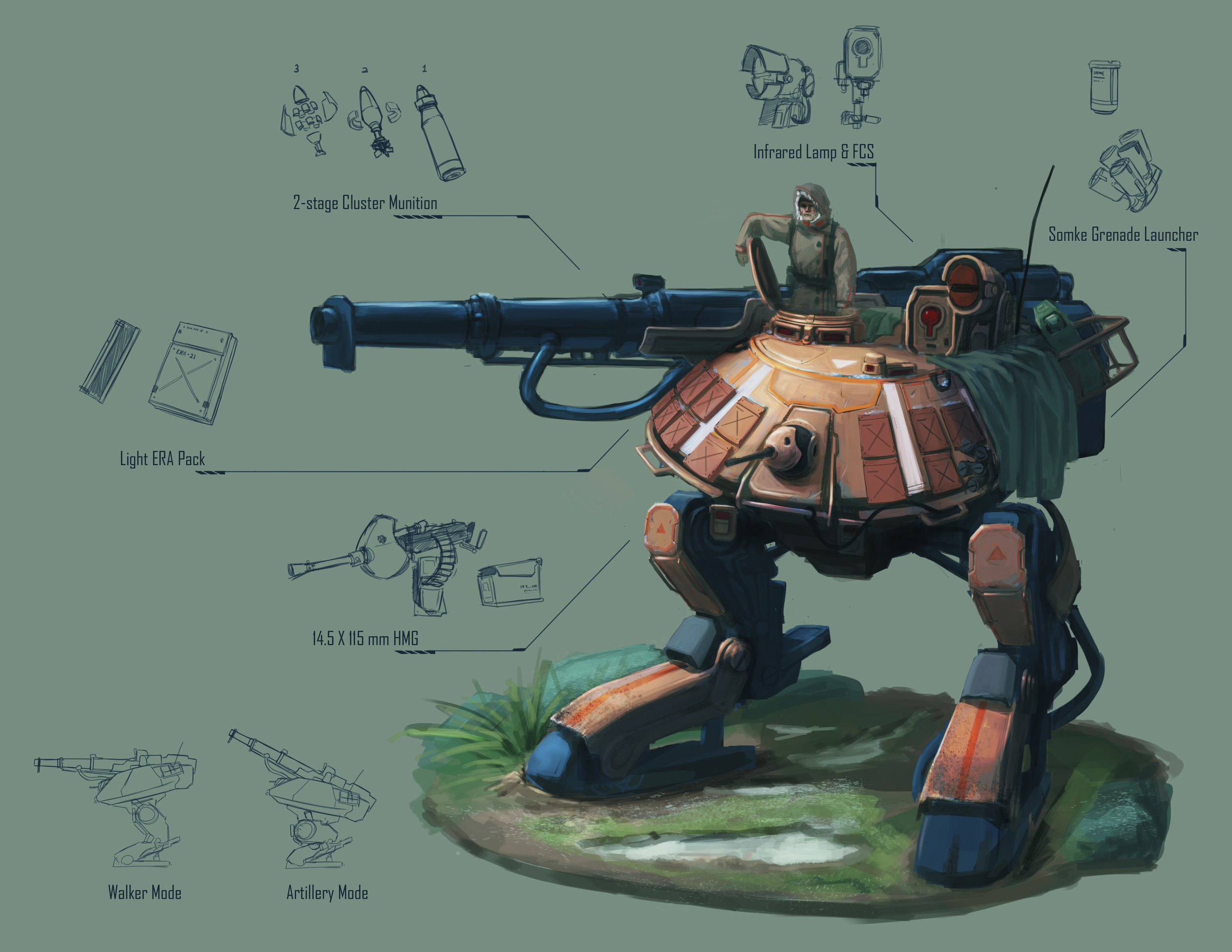 Artillery Walker   Yang Hu   Yanghudesign@gmail.com   626-316-9992