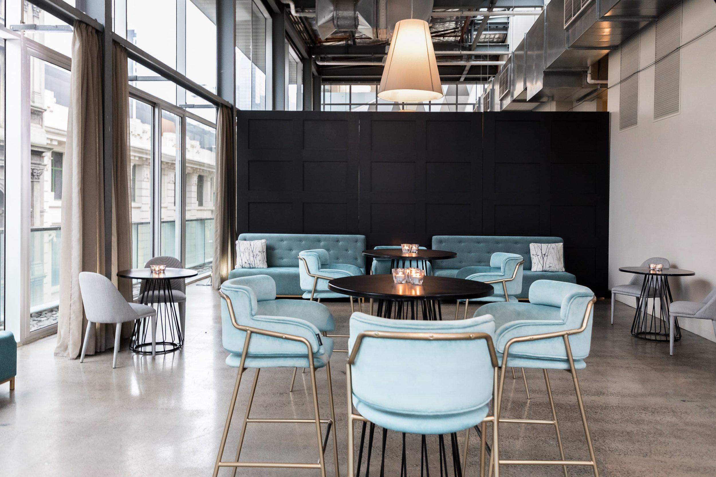 Furniture configuration at ALTO Event Space in the Melbourne CBD.