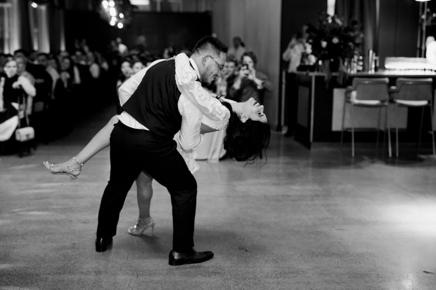 A newly wed couple on the Dancefloor at ALTO Event Space in the Melbourne CBD.