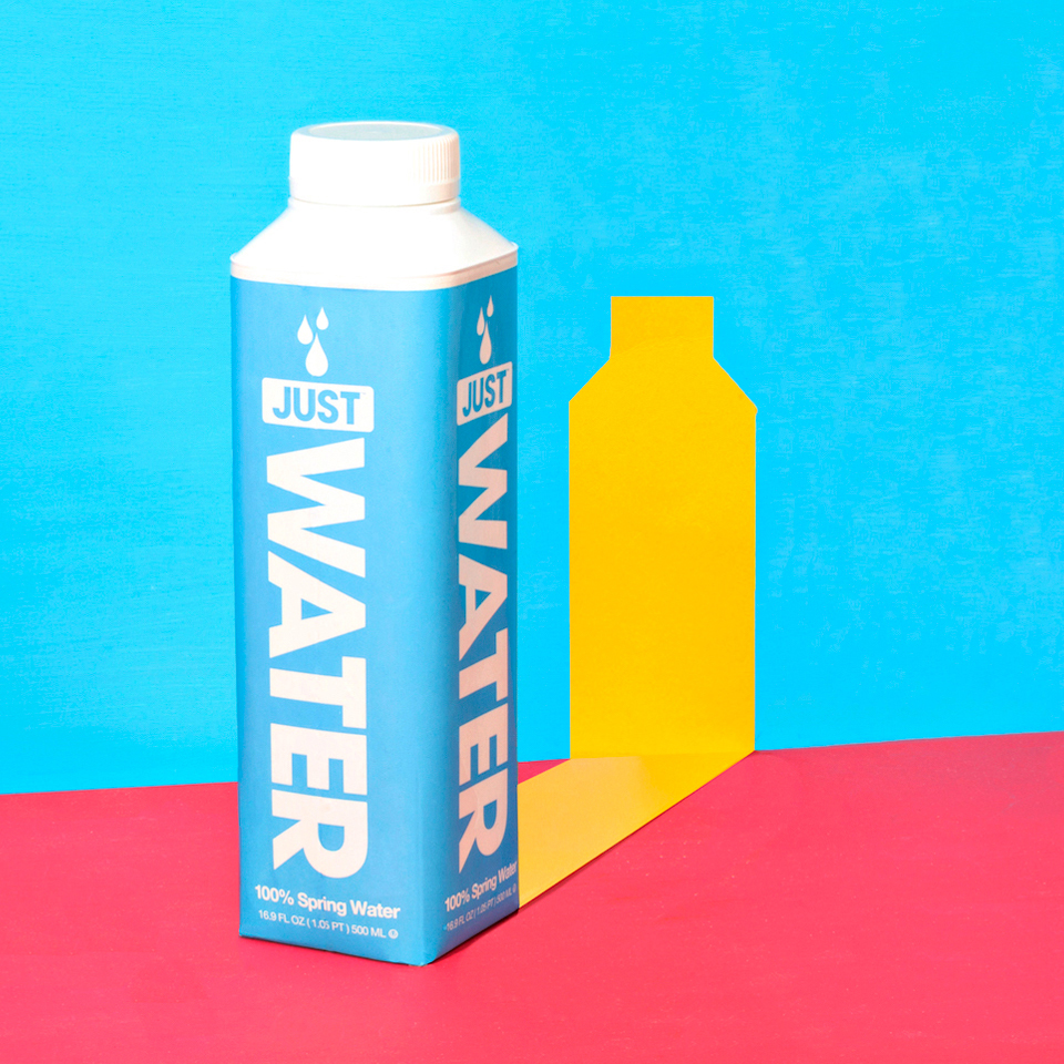 blue water bottle with yellow shadow