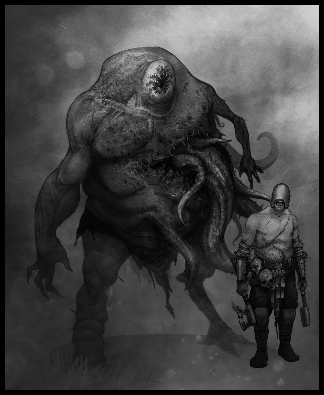 Concept Art of the Chaos Spawn - From the concept art we knew the size of the Chaos Spawn and the overall look. From this we had enough knowledge to cover a wide variation of gameplay elements that might pop up: grabbing with tentacles, biting/sucking with head appendage and etc.The gameplay was worked on continuously during the character creation. We also needed to keep the belief that this was a human being that turned down a bad path a couple of times too many.