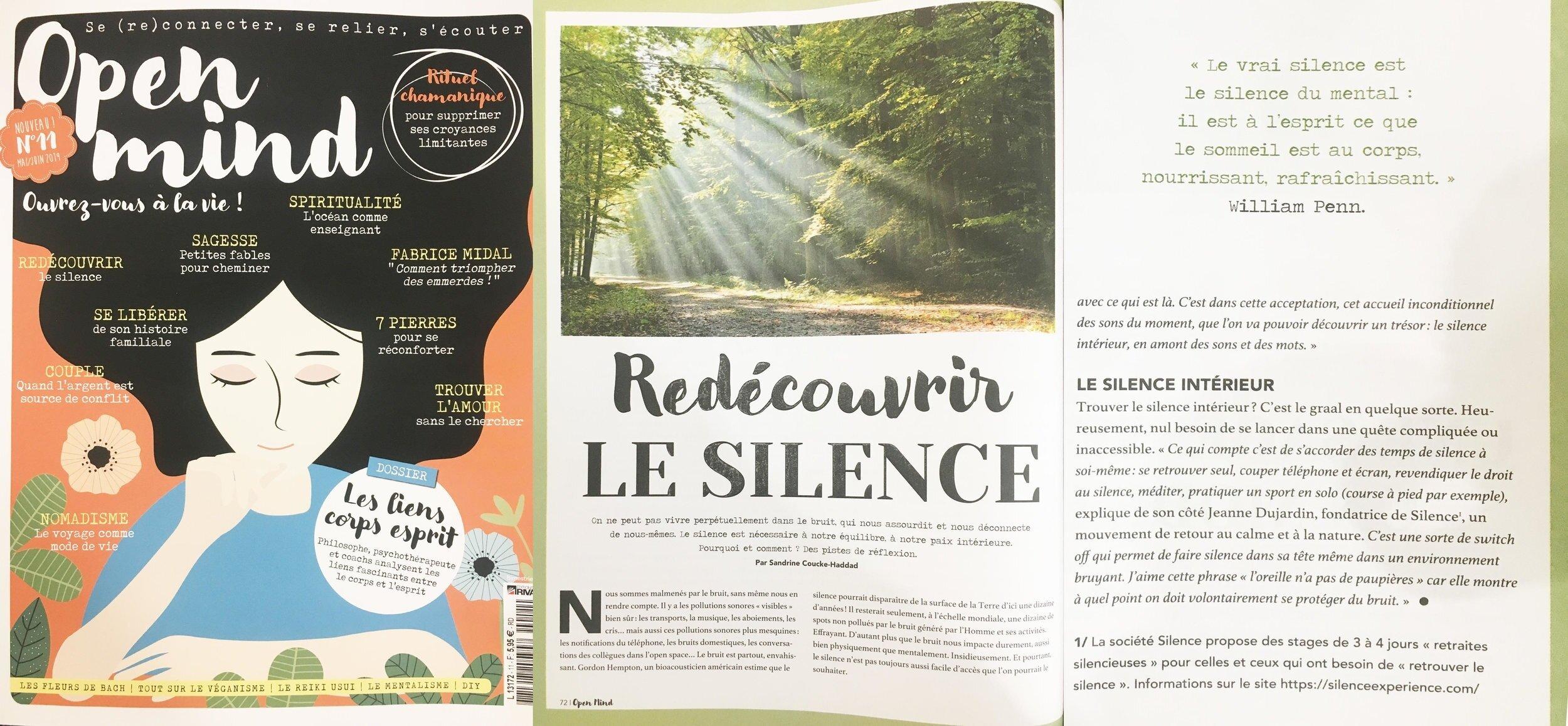 Open Mind Magazine. Article sur Silence -