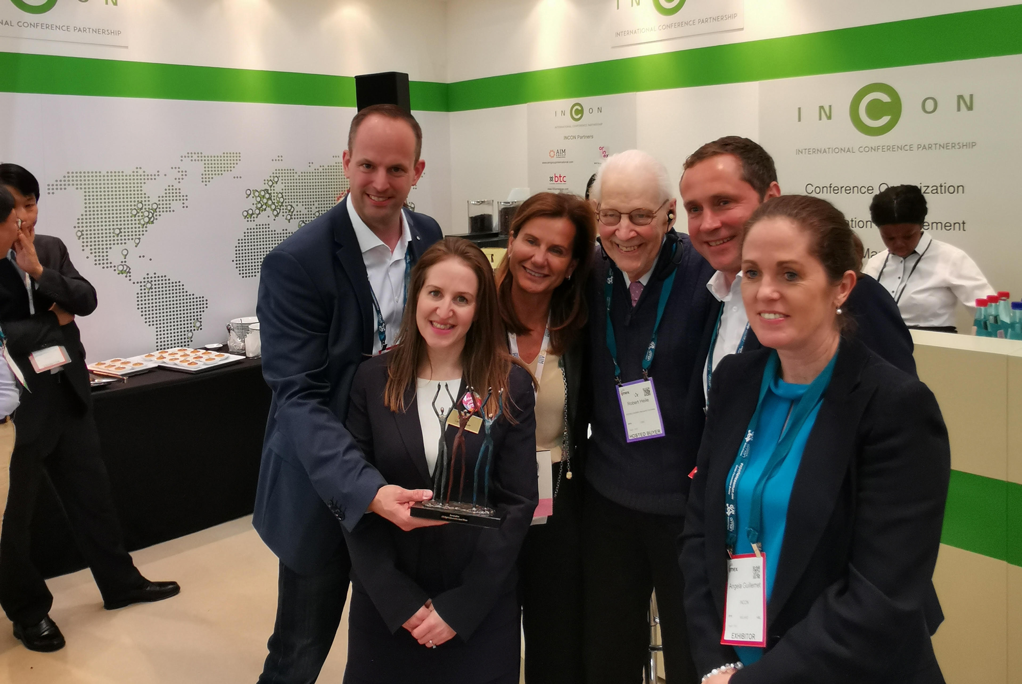 From left to right:  Lars Wöhler,  Managing Director - darmstadtium,  Carina Bauer,  CEO - IMEX Group,  Patrizia Semprebene Buongiorno,  Vice President -   AIM Group International, INCON Co-Chair,  Bob Heile,  INCON Award Judge,  Michael Cordt,  Head of Sales and Maketing- darmstadtium,  Angela Guillemet,  Executive Director - INCON