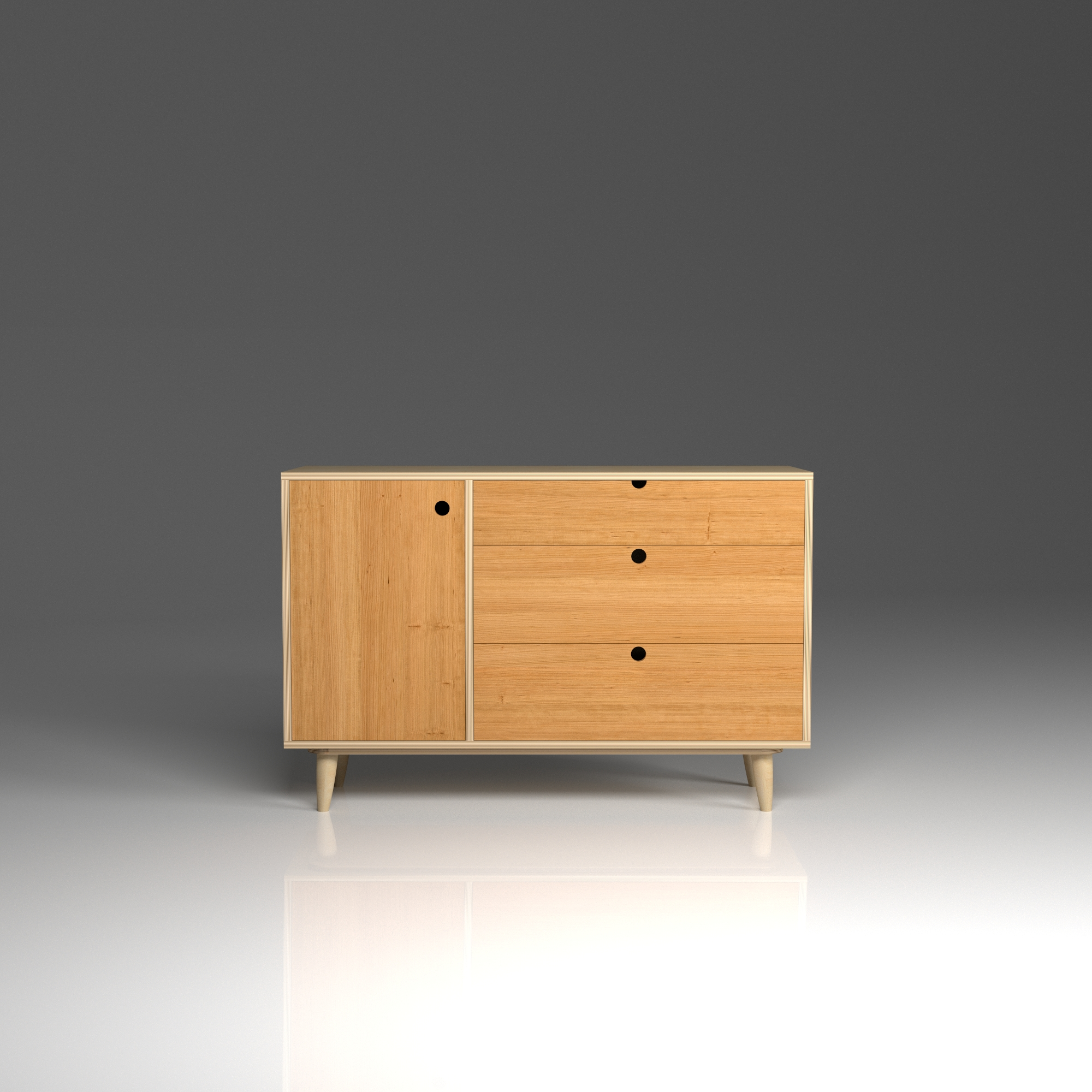 Sideboard 3 (SB3) in Cherry   Birch plywood sideboard with hardwood cherry fronts. Versatile piece that would fit beautifully in any room in the house.