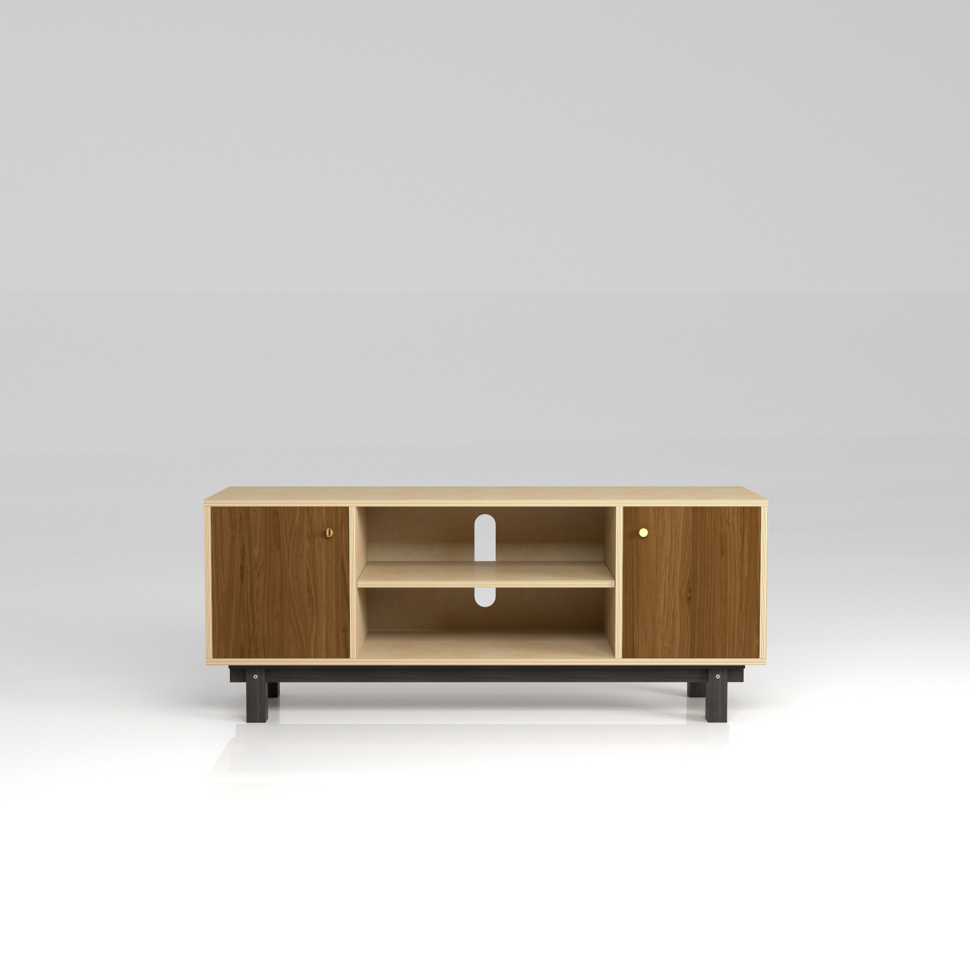 Large Media 2 (LM2) in Walnut   Large media unit with two cupboards, adjustable shelf and cutouts for hi-fi components. Ideal for any TV or Hifi combination.