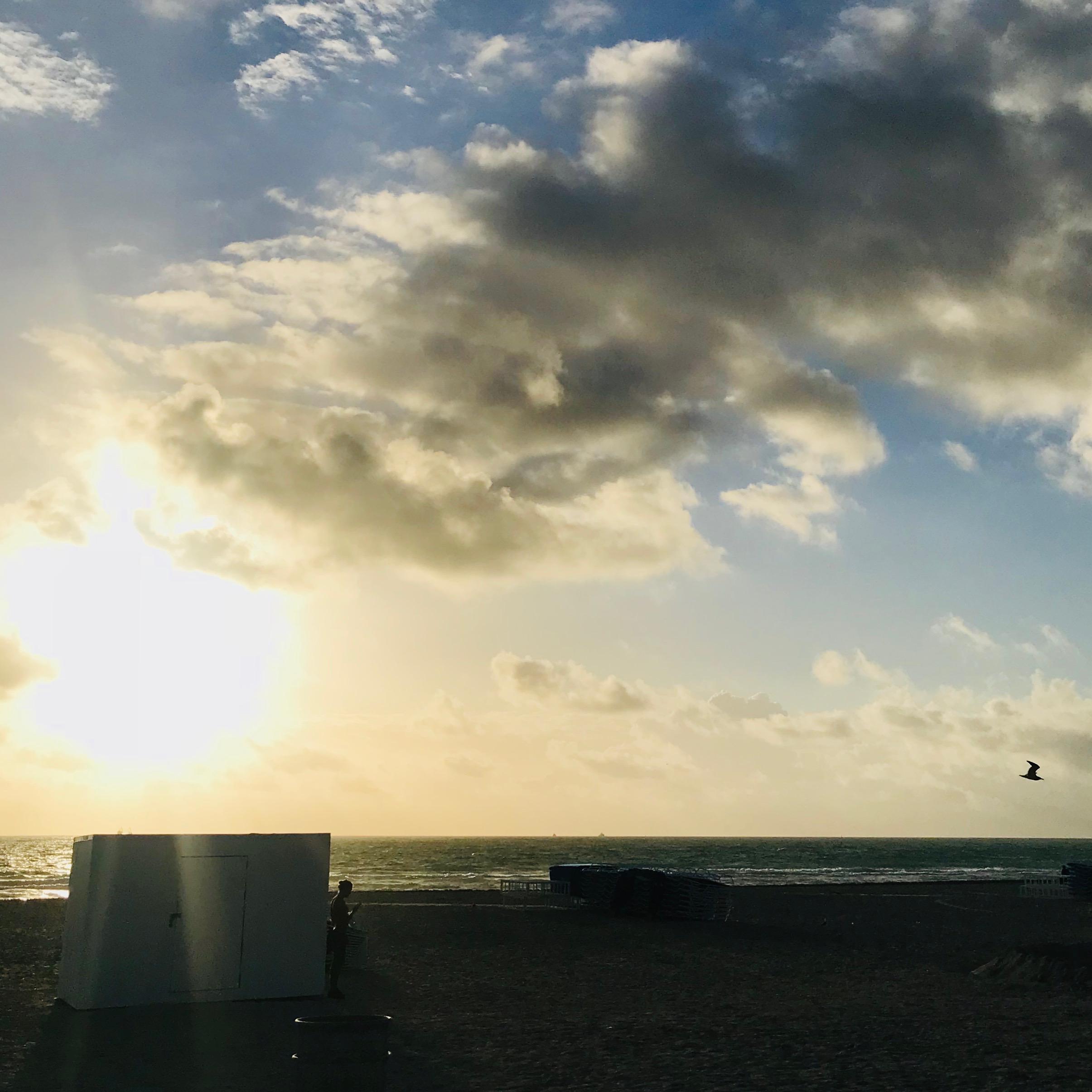 Jetlaggad och lite suddig morgon på South beach, Miami.