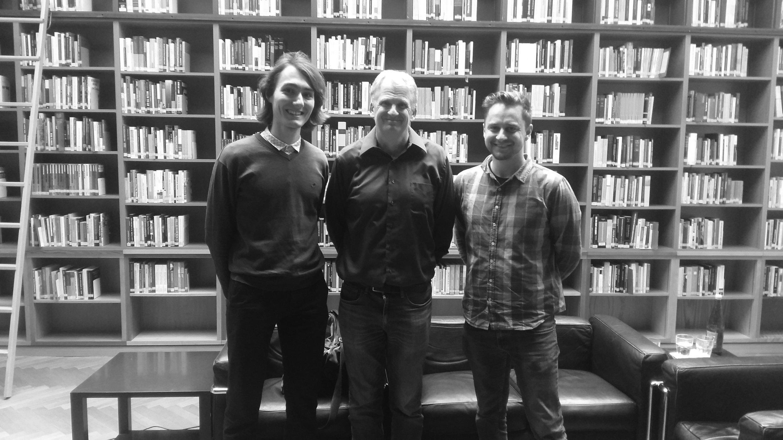 After the interview. From the left: Michal Micovčin (interviewer), professor Snyder, Peter Stearančák (interviewer). Photograph: Martin Micovčin (c).