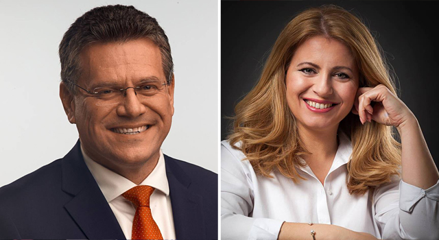 Maroš Šefčovič and Zuzana Čaputová. Two presidential candidates standing for the second round of Slovak presidential elections. FOTO CREDIT: unknown.